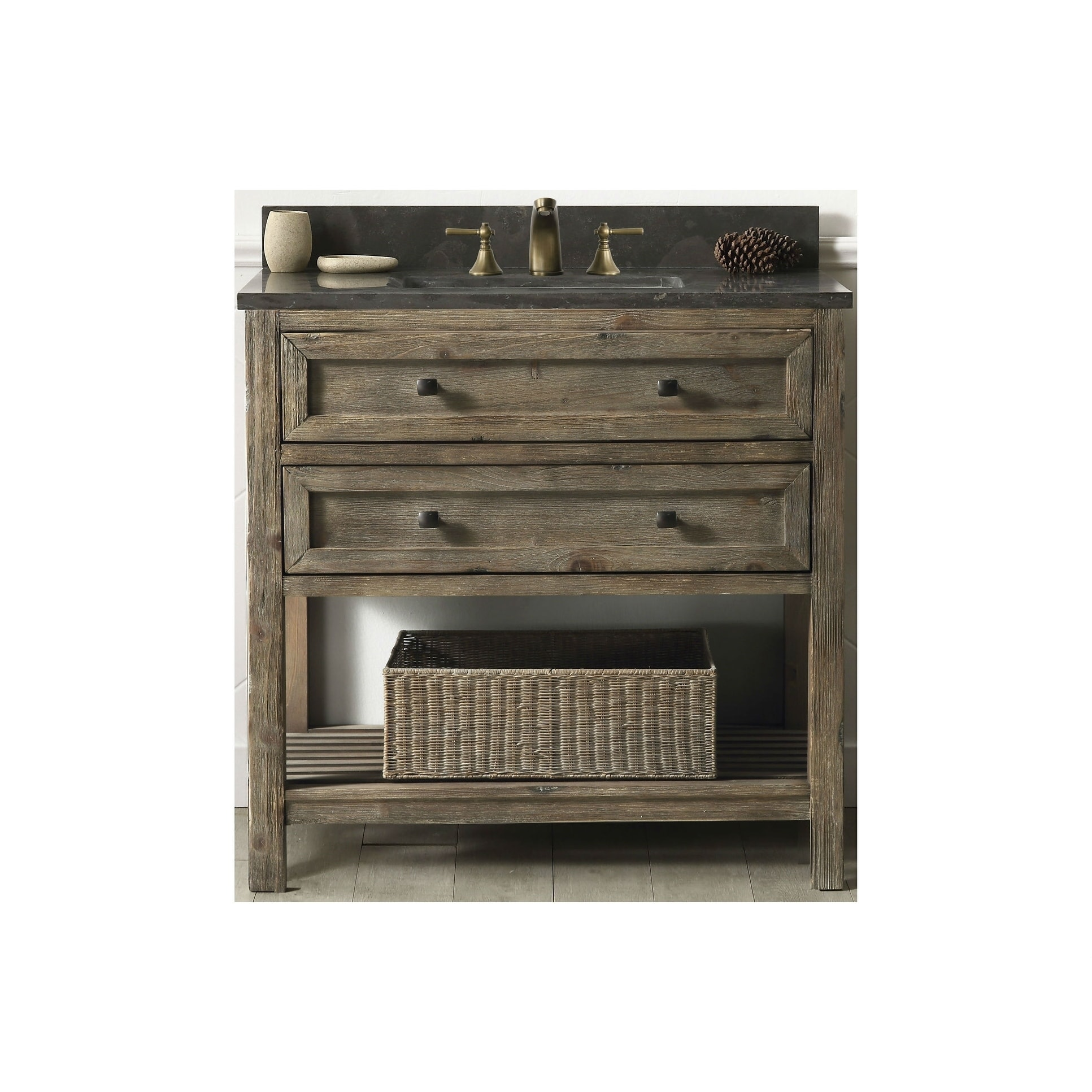 Bathroom Vanity In Rustic Brown With Moon Stone Top Free Shipping Today 18258364