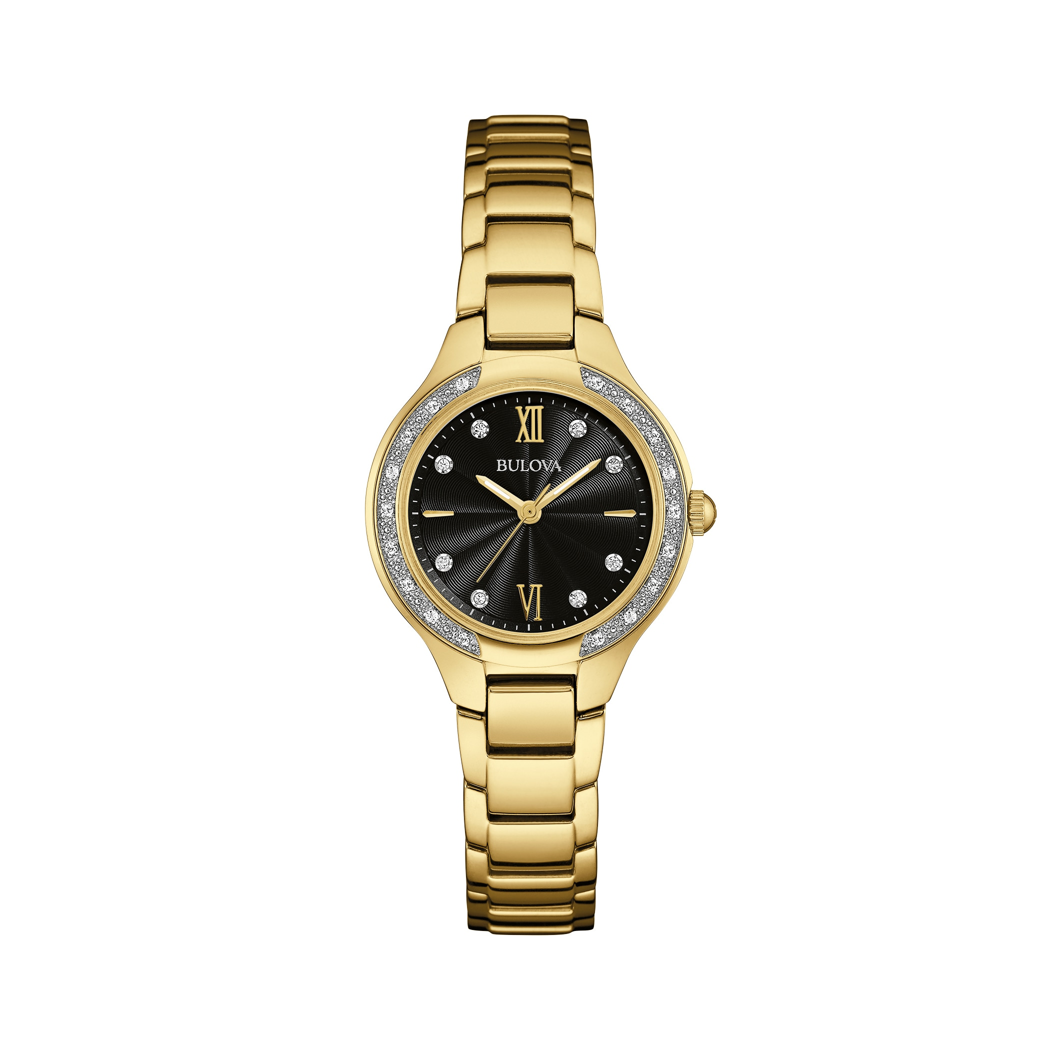 07542361c Shop Bulova Women's 98R222 Goldtone Stainless Diamond Accent Black Dial  Bracelet Watch - Free Shipping Today - Overstock - 18260753