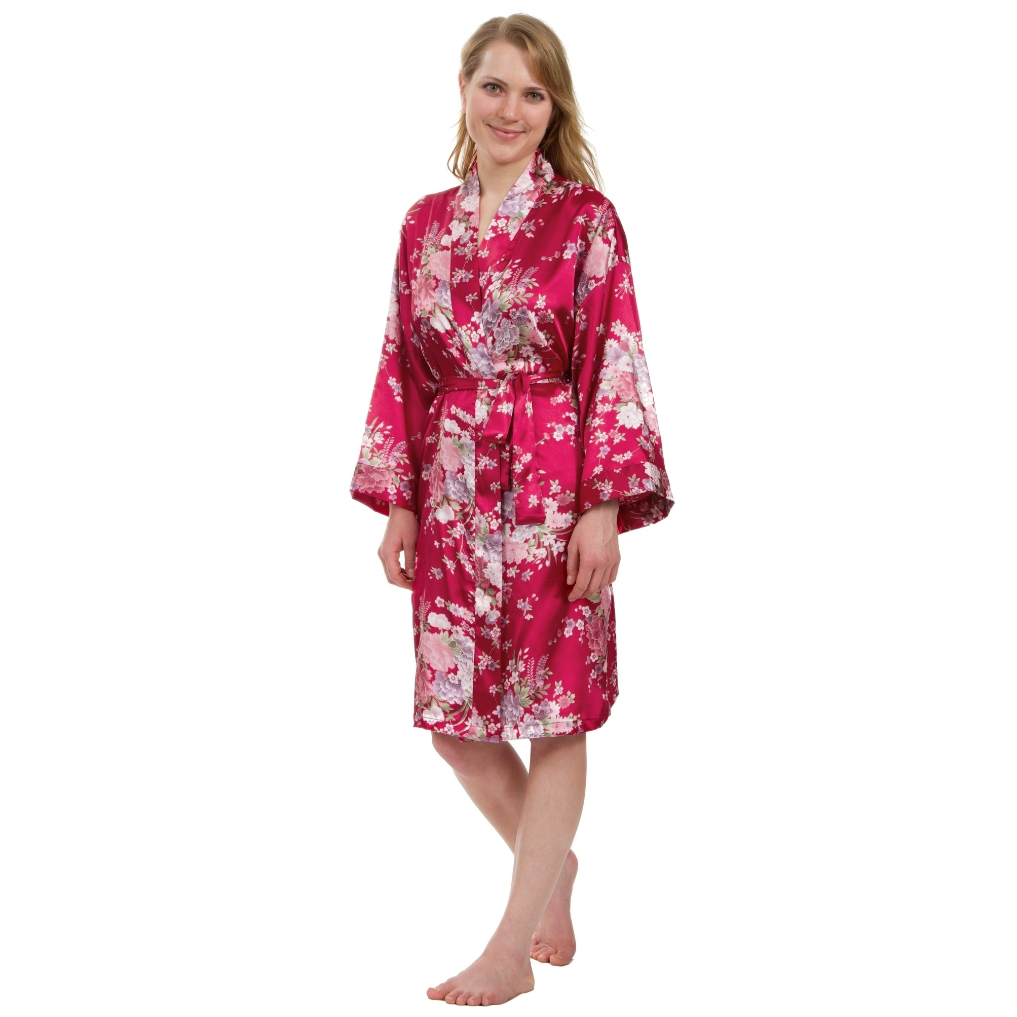 65b851868 Shop Leisureland Women's Knee-Length Floral Satin Robe - Free Shipping On  Orders Over $45 - Overstock - 18262733
