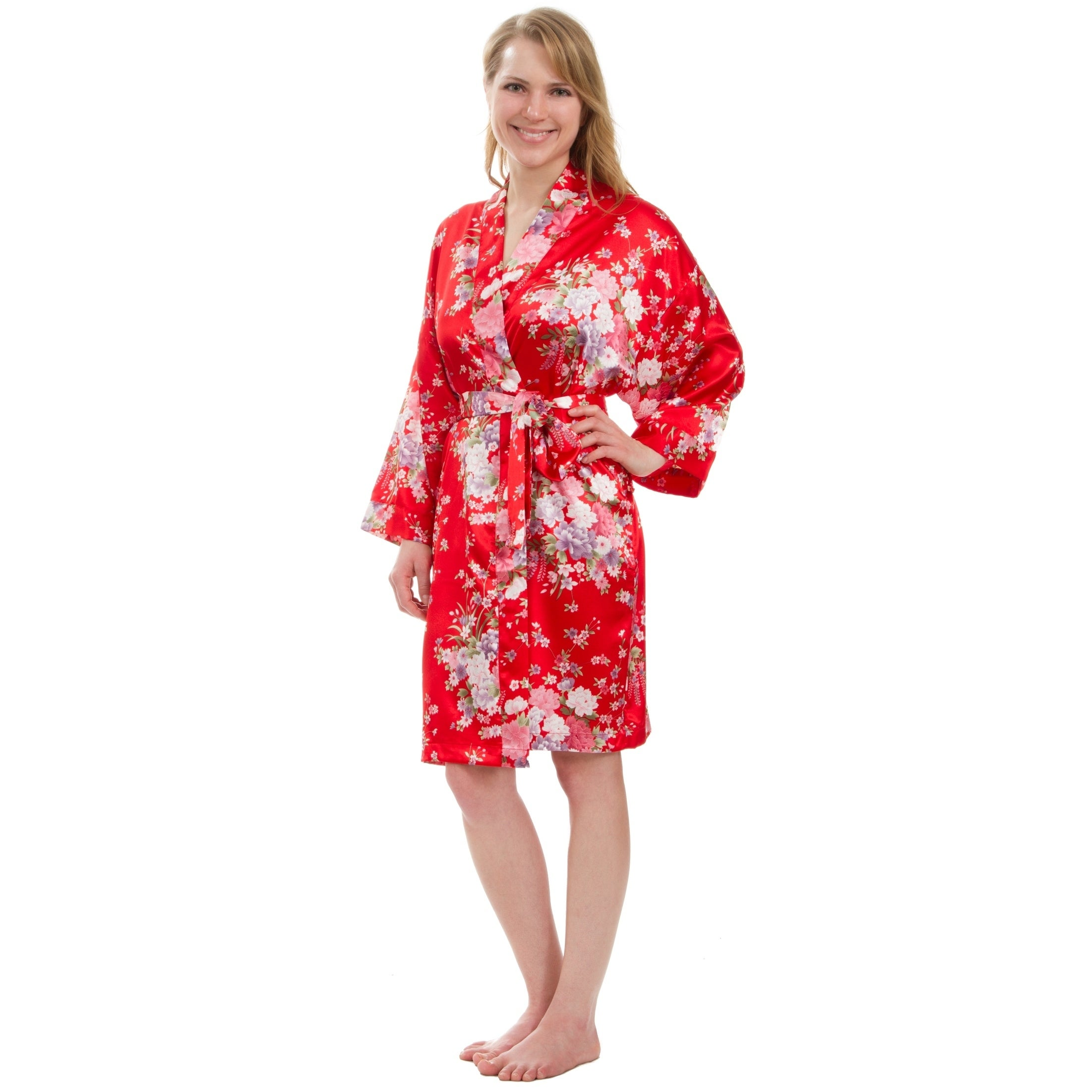 bfd71997e22 Shop Leisureland Women s Knee-Length Floral Satin Robe - Free Shipping On Orders  Over  45 - Overstock - 18262733