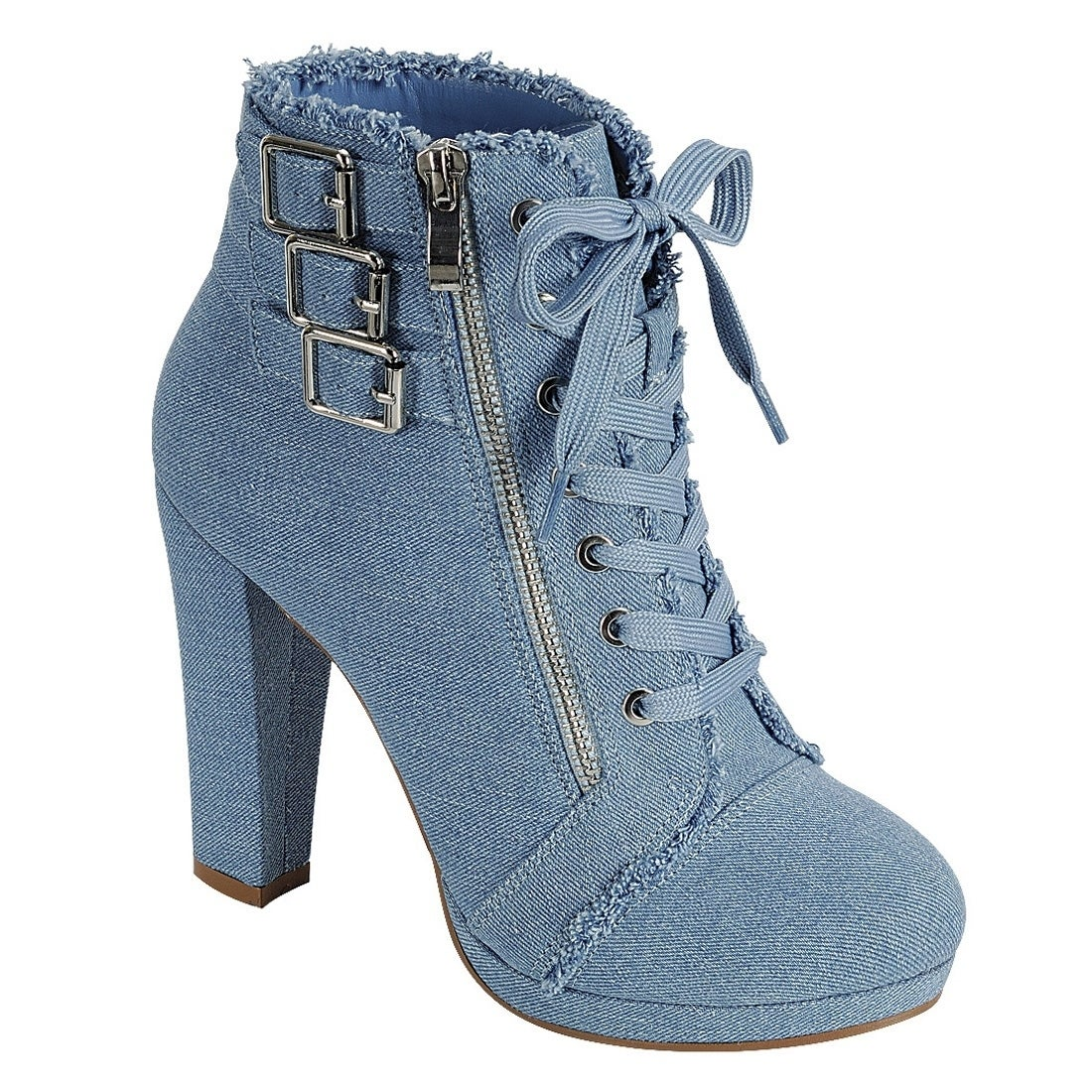 EI85 Women's Zipper Side Distressed Ripped Wrapped Chunky Heel Ankle Booties