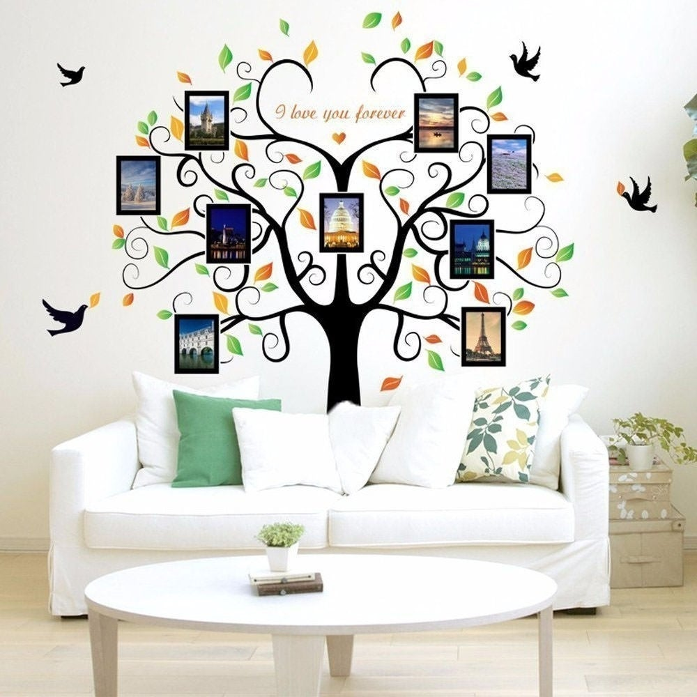 Shop Family Tree Wall Decal 9 Large Photo Pictures Frames 35x12 Wall ...