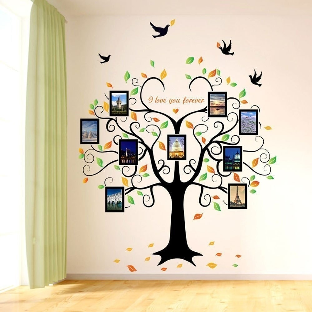 Shop Family Tree Wall Decal 9 Large Photo Pictures Frames 35x12 Wall