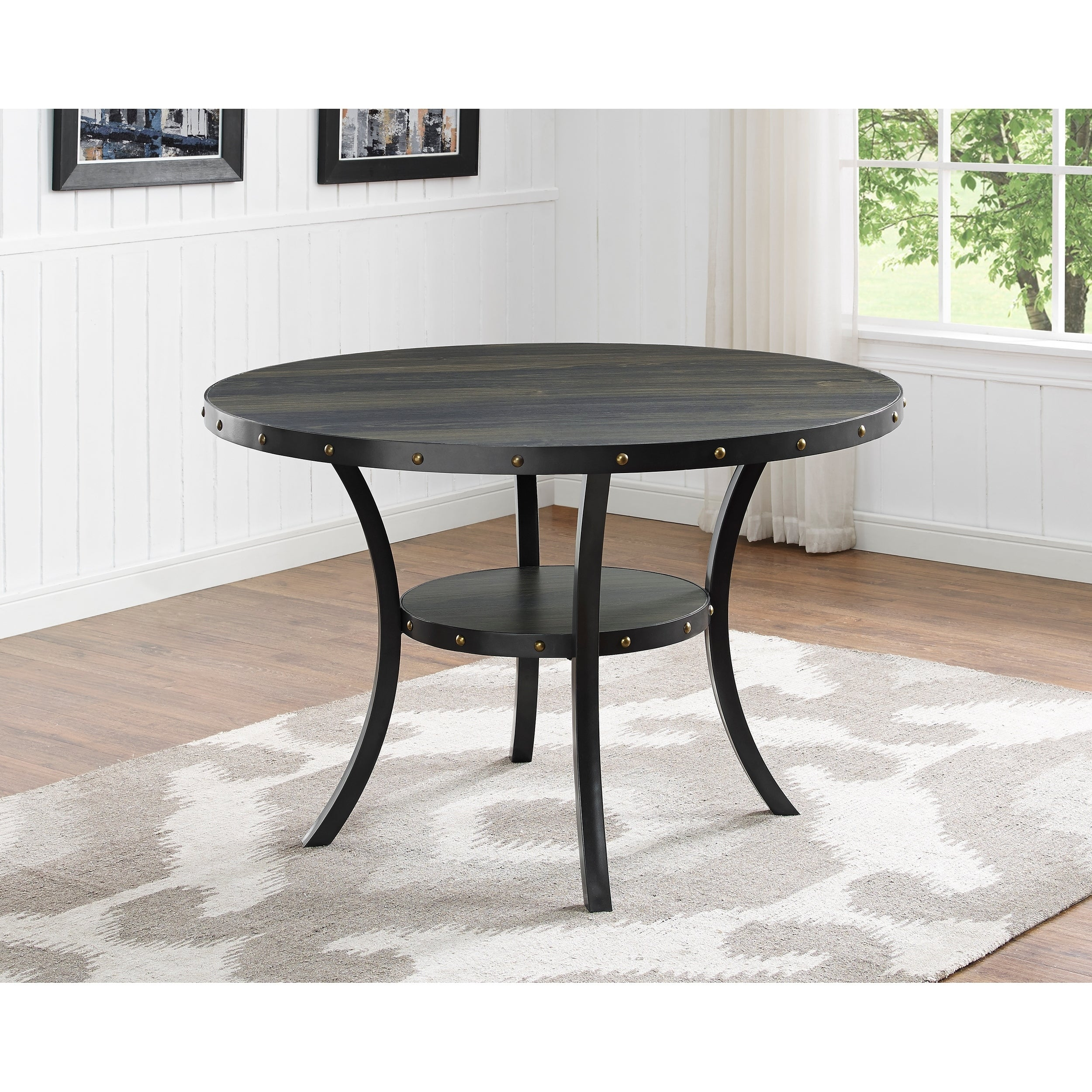 Shop Biony Dining Collection Espresso Wood Nailhead Round Dining Table    Brown   Free Shipping Today   Overstock.com   18270928