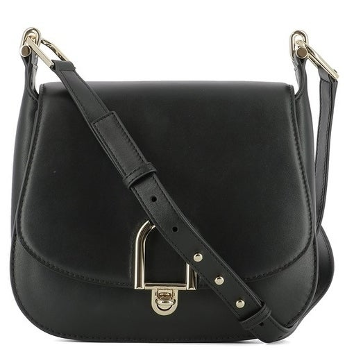 0248872ad3f4 Shop Michael Kors Delfina Large Black Leather Saddlebag Crossbody ...