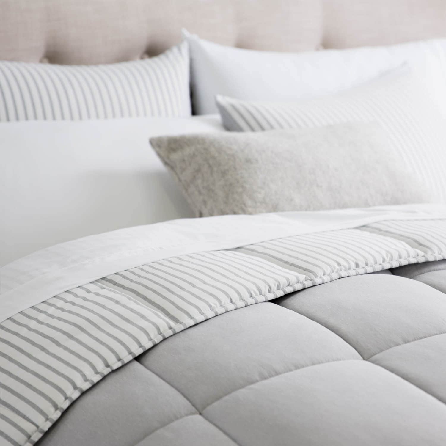 set save ivory gray solid oversized overfilled dsc bedding comforter reversible emboss and looks striped in