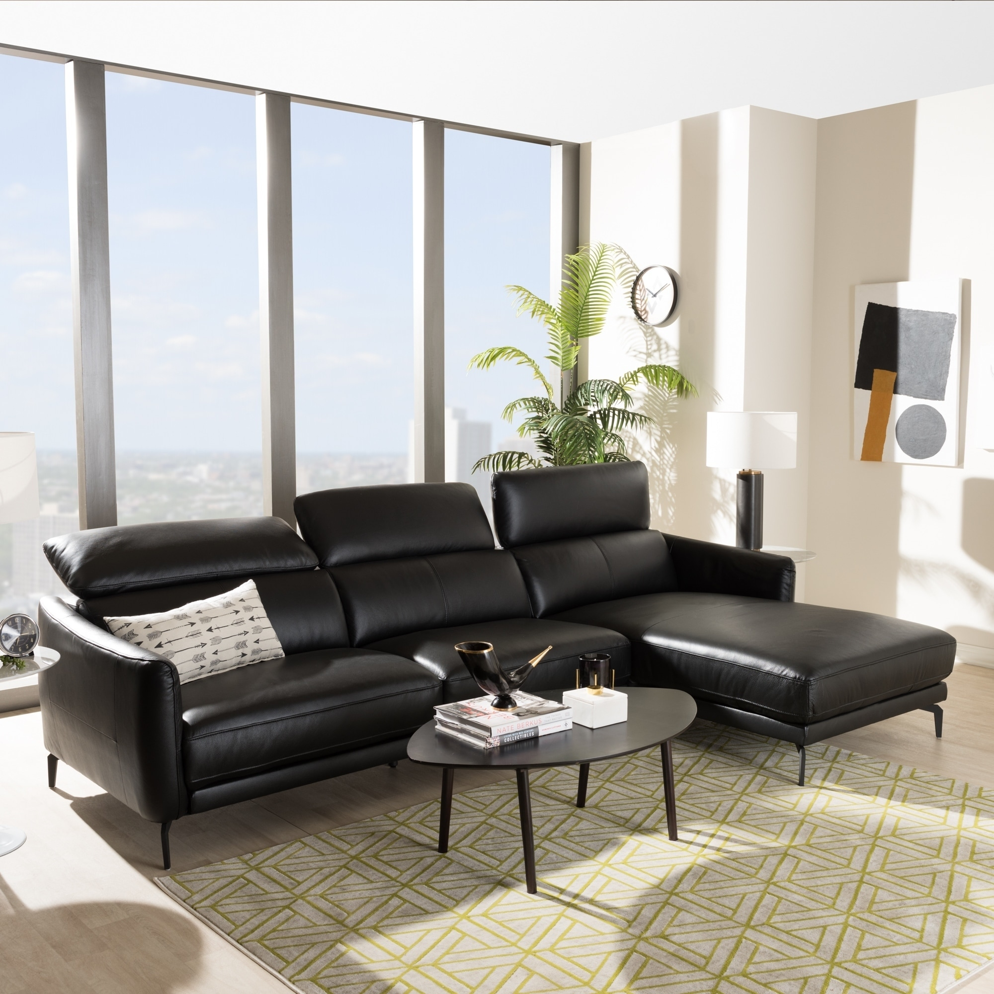 Shop Modern Leather Right Facing Chaise Sectional Sofa by Baxton ...