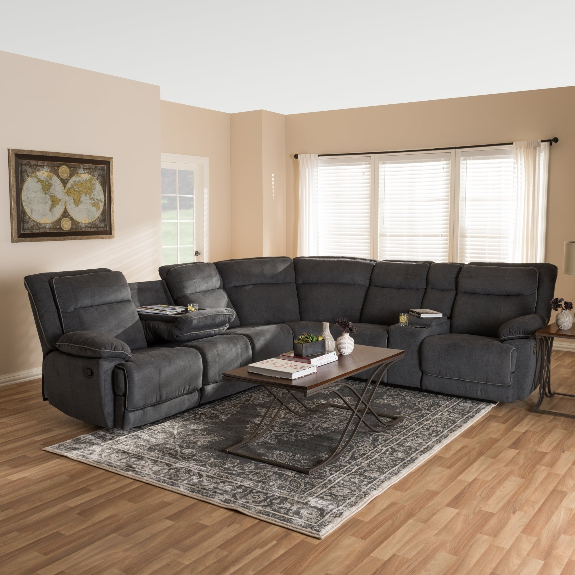 Shop Modern Fabric Reclining Sectional By Baxton Studio Free