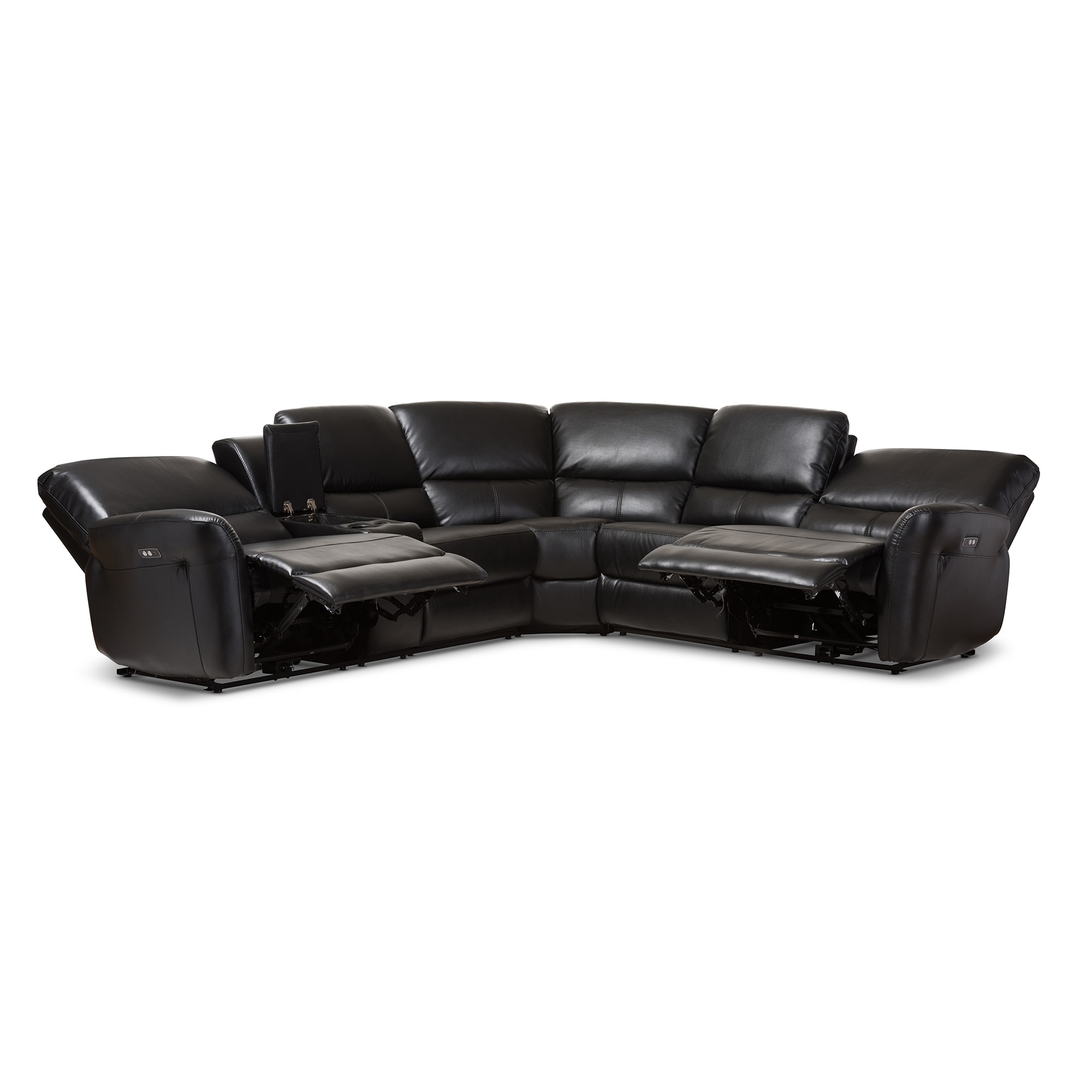 Shop Modern Bonded Leather Power Reclining Sectional Sofa By Baxton