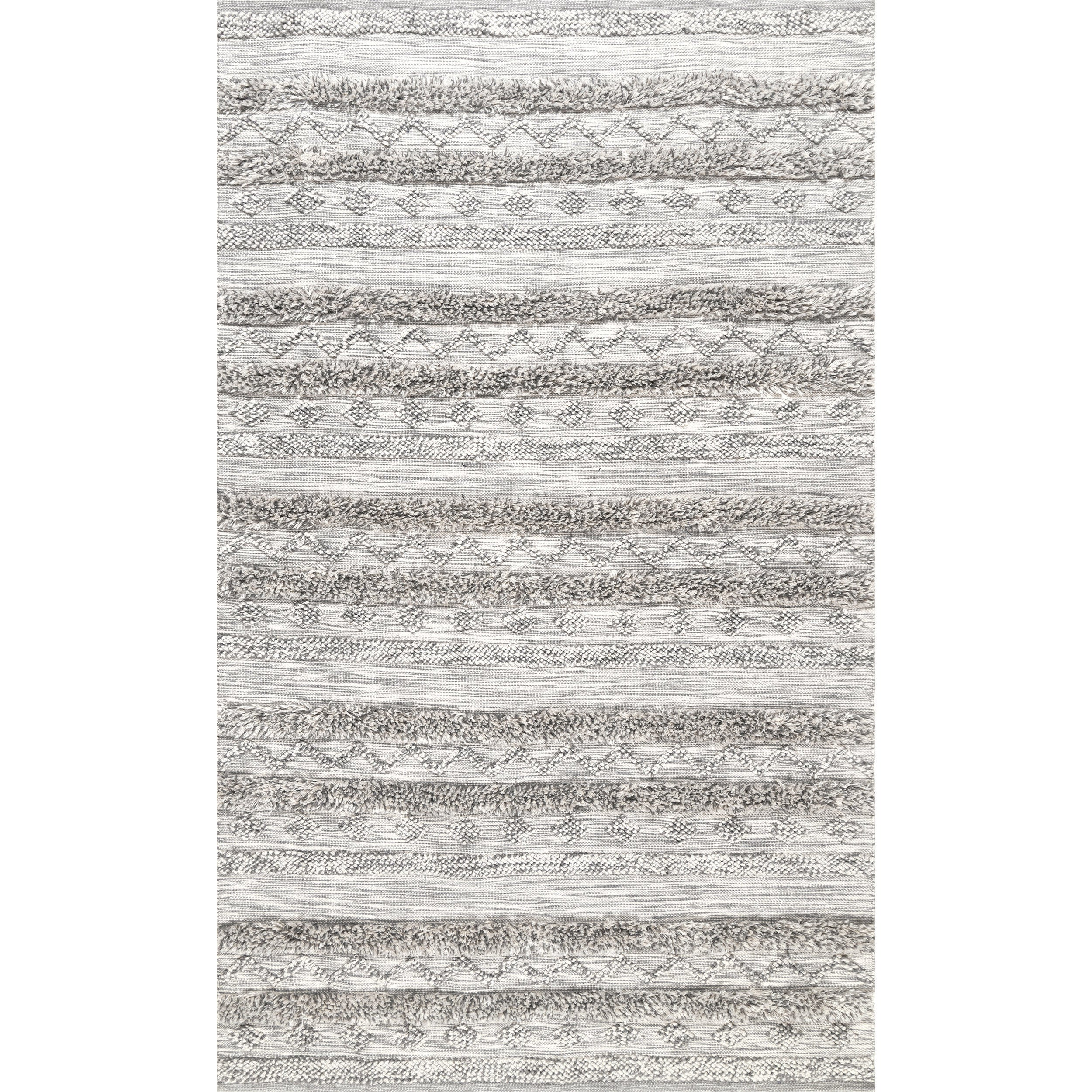 Best nuLoom Grey Tribal Band Stripe Area Rug (7'6 x 9'6) - Free  HI05