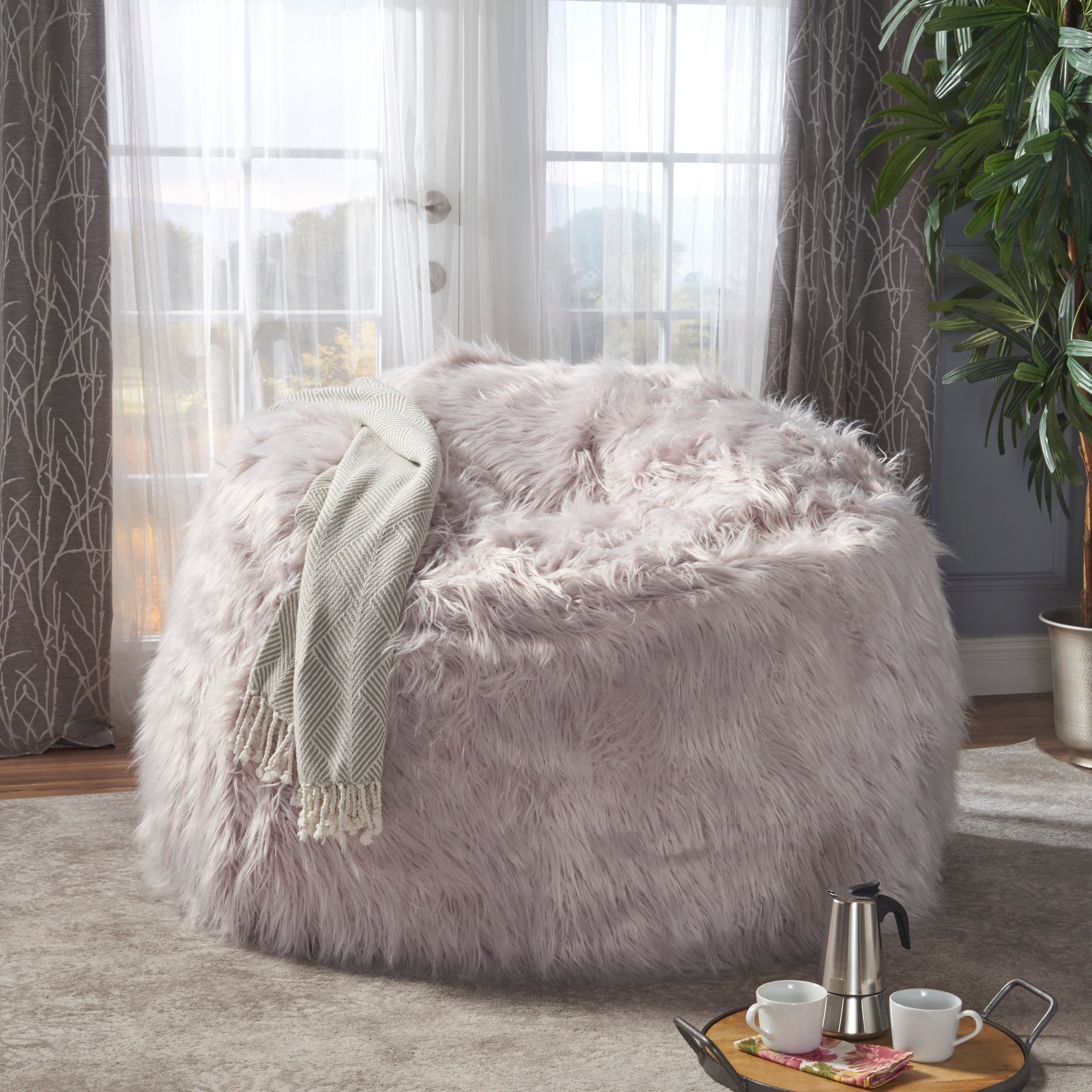 Shop Lachlan Faux Furry Bean Bag By Christopher Knight Home On