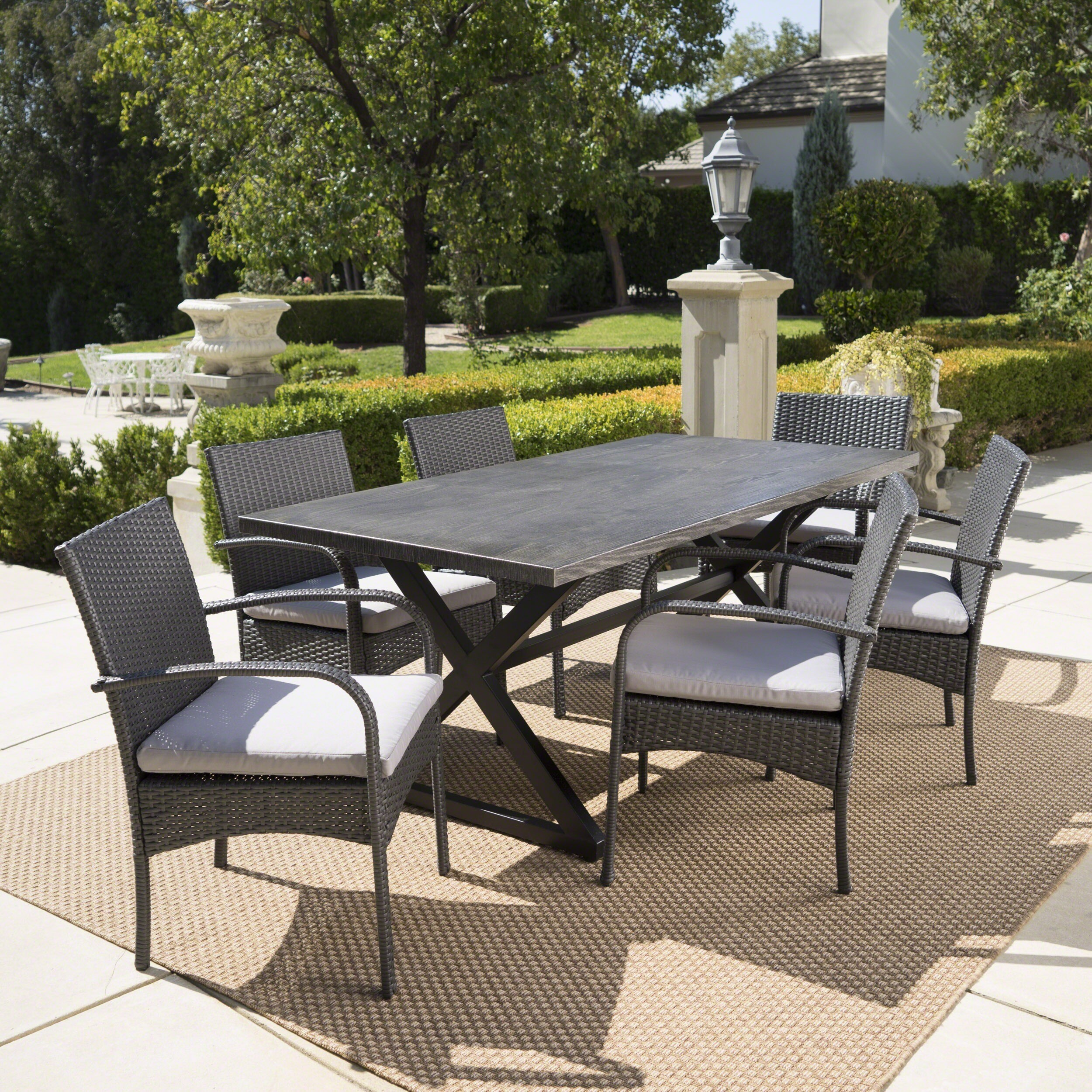 Shop ashworth outdoor 7 piece rectangular wicker aluminum dining set with cushions by christopher knight home on sale free shipping today overstock