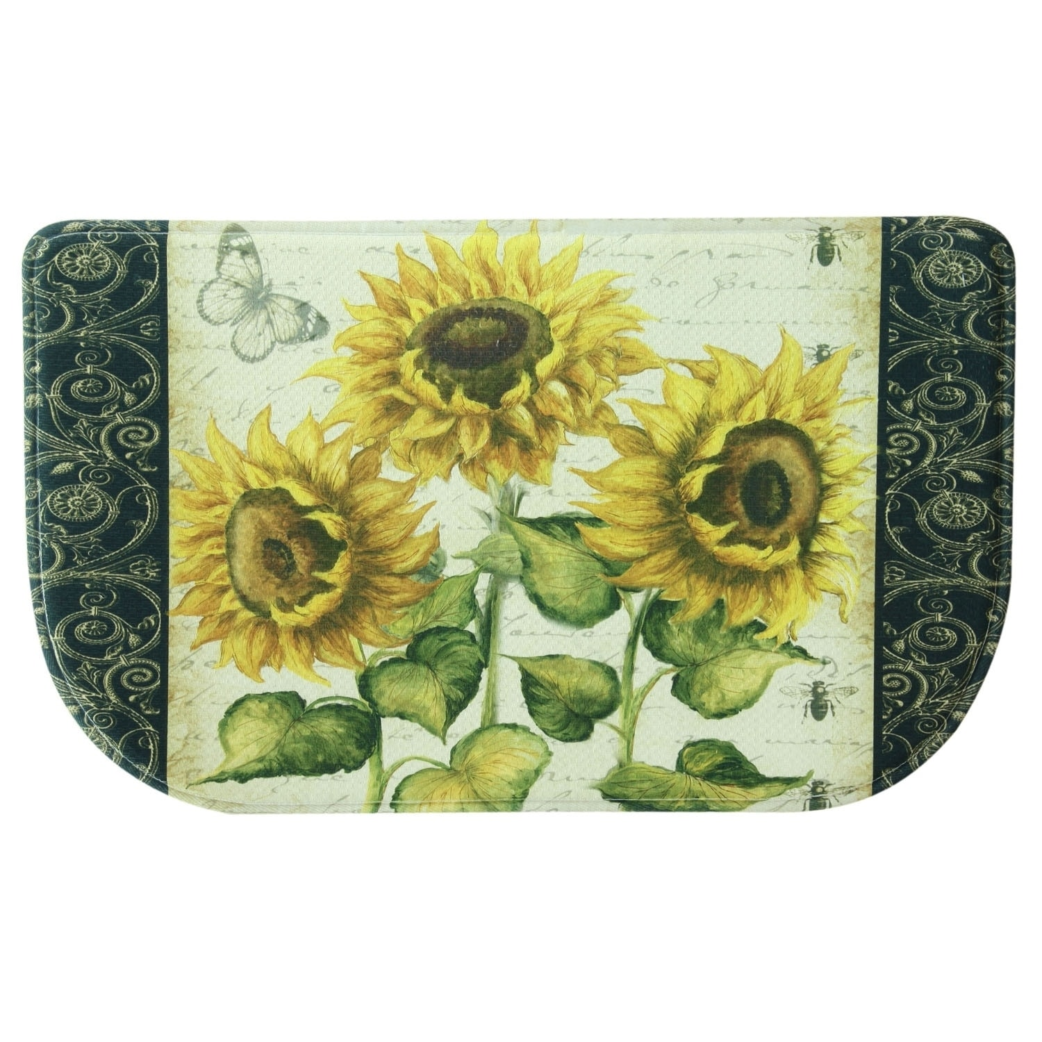 Printed memory foam french Sunflower kitchen rug by Bacova 1 6