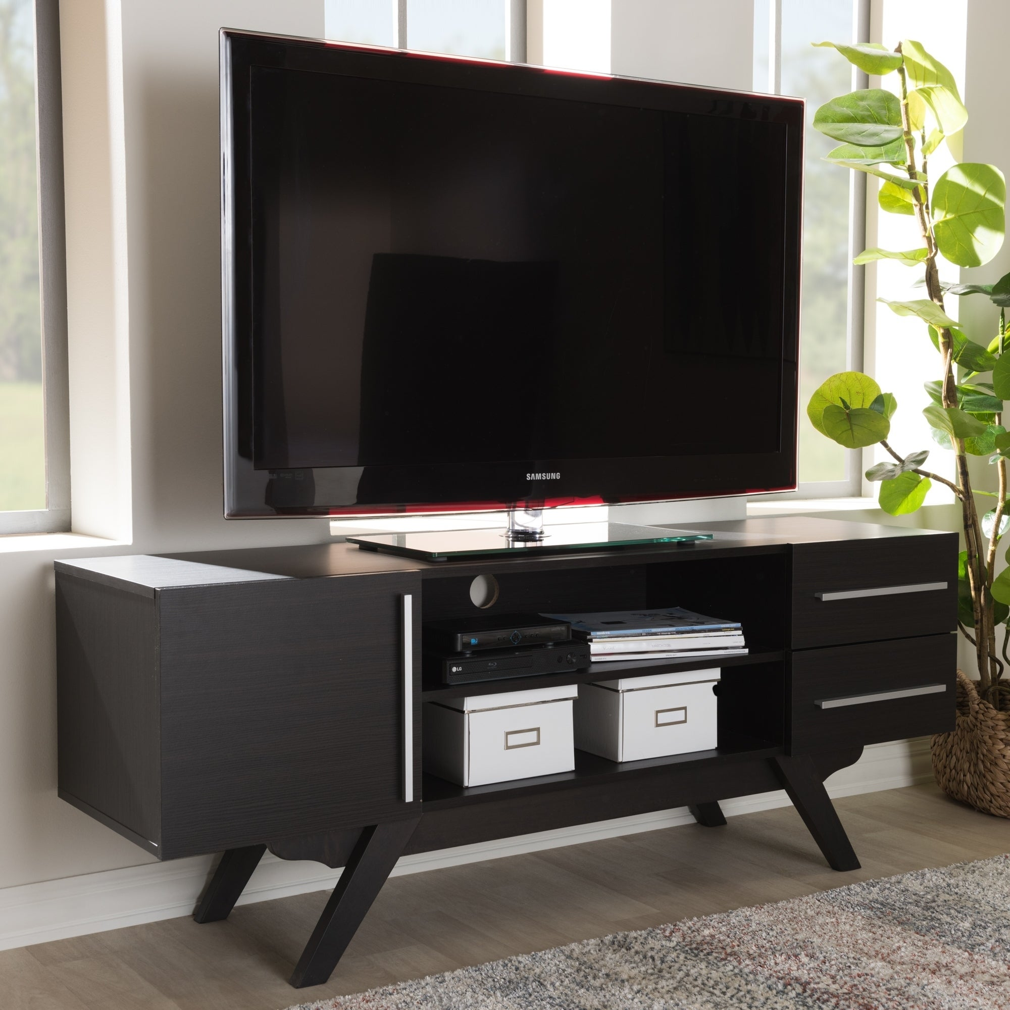 Mid Century Brown Tv Stand By Baxton Studio On Free Shipping Today 18505808