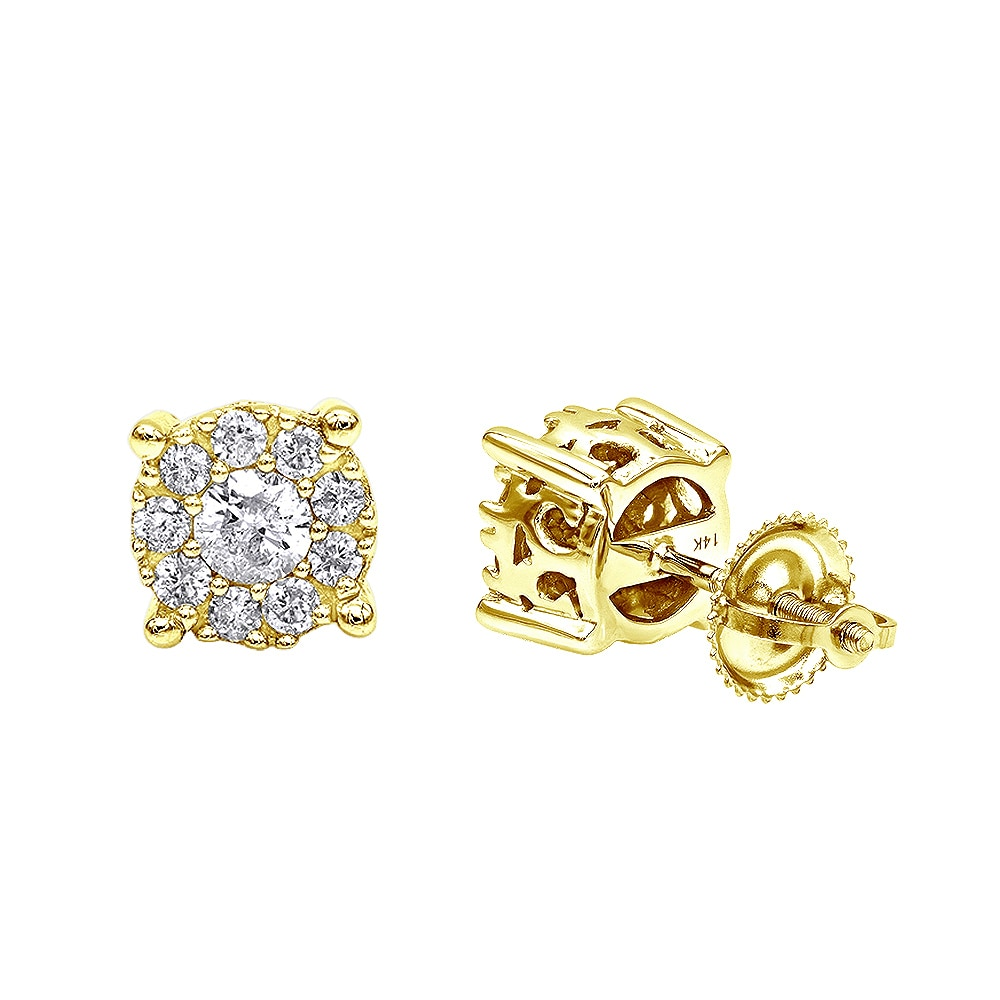 Luxurman Halo 14k Gold Cer Diamond Earrings Studs For Men Or Women 3 4ct Free Shipping Today 18505836