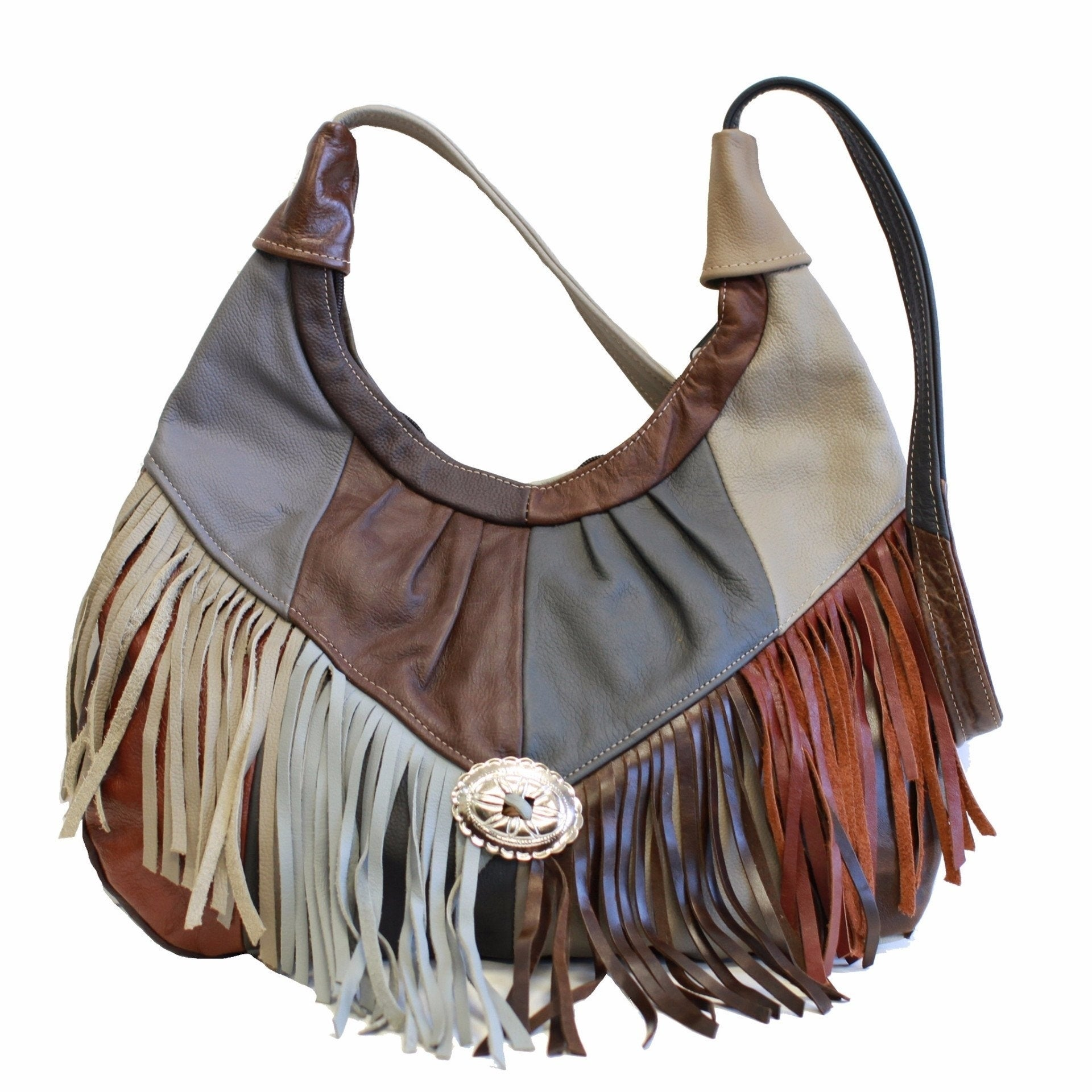 19c14baeb8 Shop AFONiE Mexican Leather Fringe Hobo Handbag - On Sale - Free Shipping  Today - Overstock - 18505978