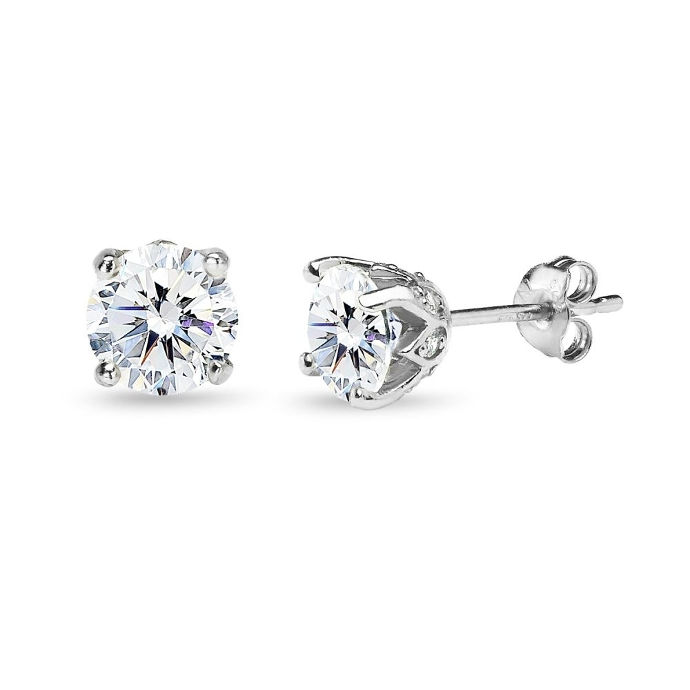 Icz Stonez Sterling Silver 6mm Crown Stud Earrings Created With Swarovski Zirconia On Free Shipping Orders Over 45