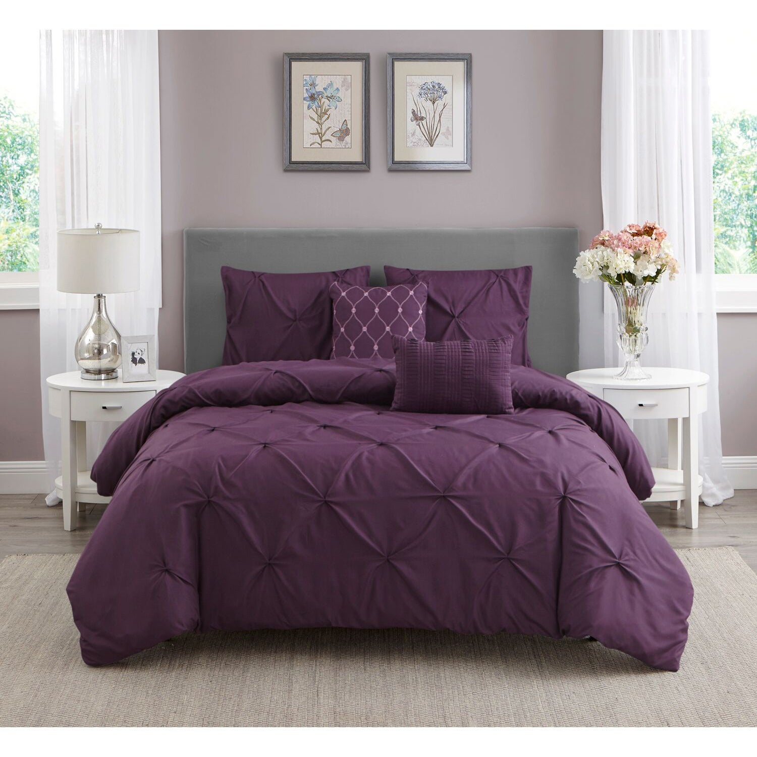 home osnat block set embroidered bag pin in color quilted piece a chic design lilac comforter bed