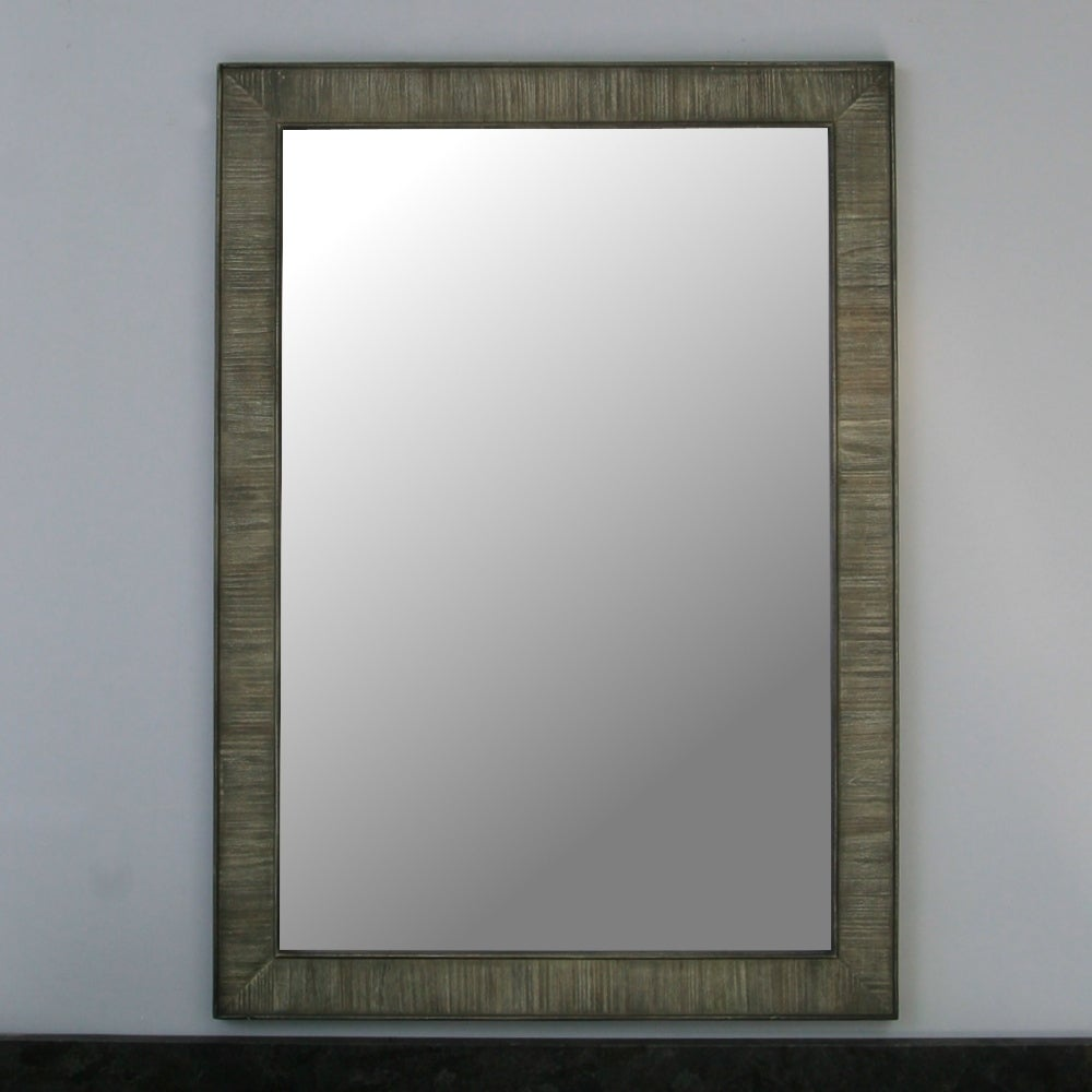 26 Rustic Solid Fir Mirror In Grey W X 36 H Free Shipping Today 24620404