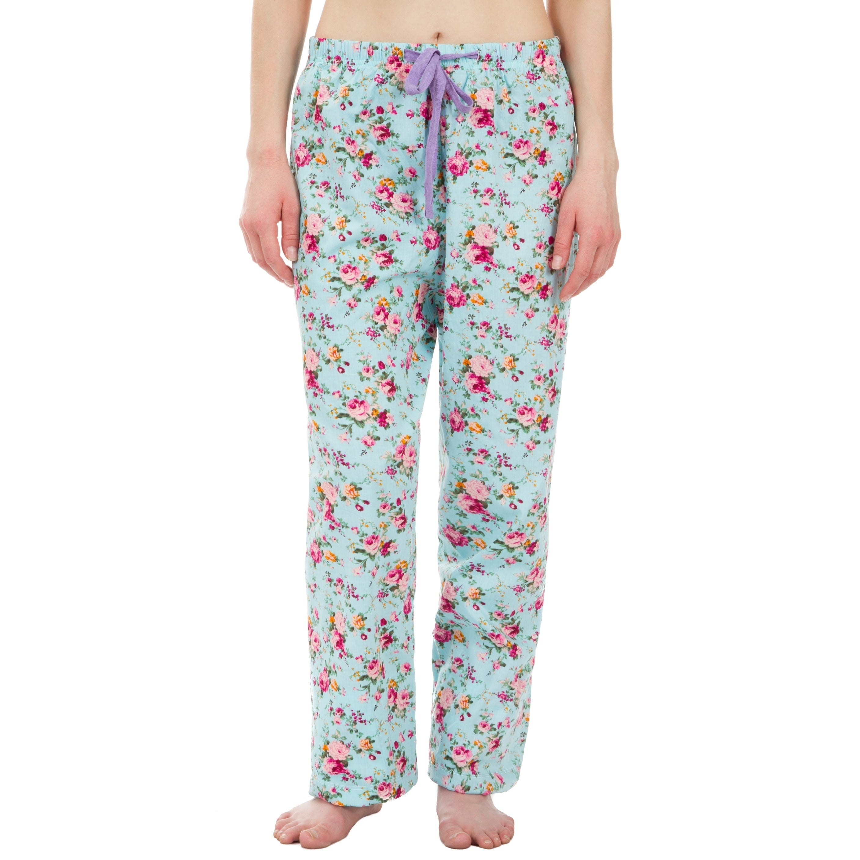 079500a374 Shop Leisureland Floral Cotton Poplin Pajama Lounge Pants Light Blue ...