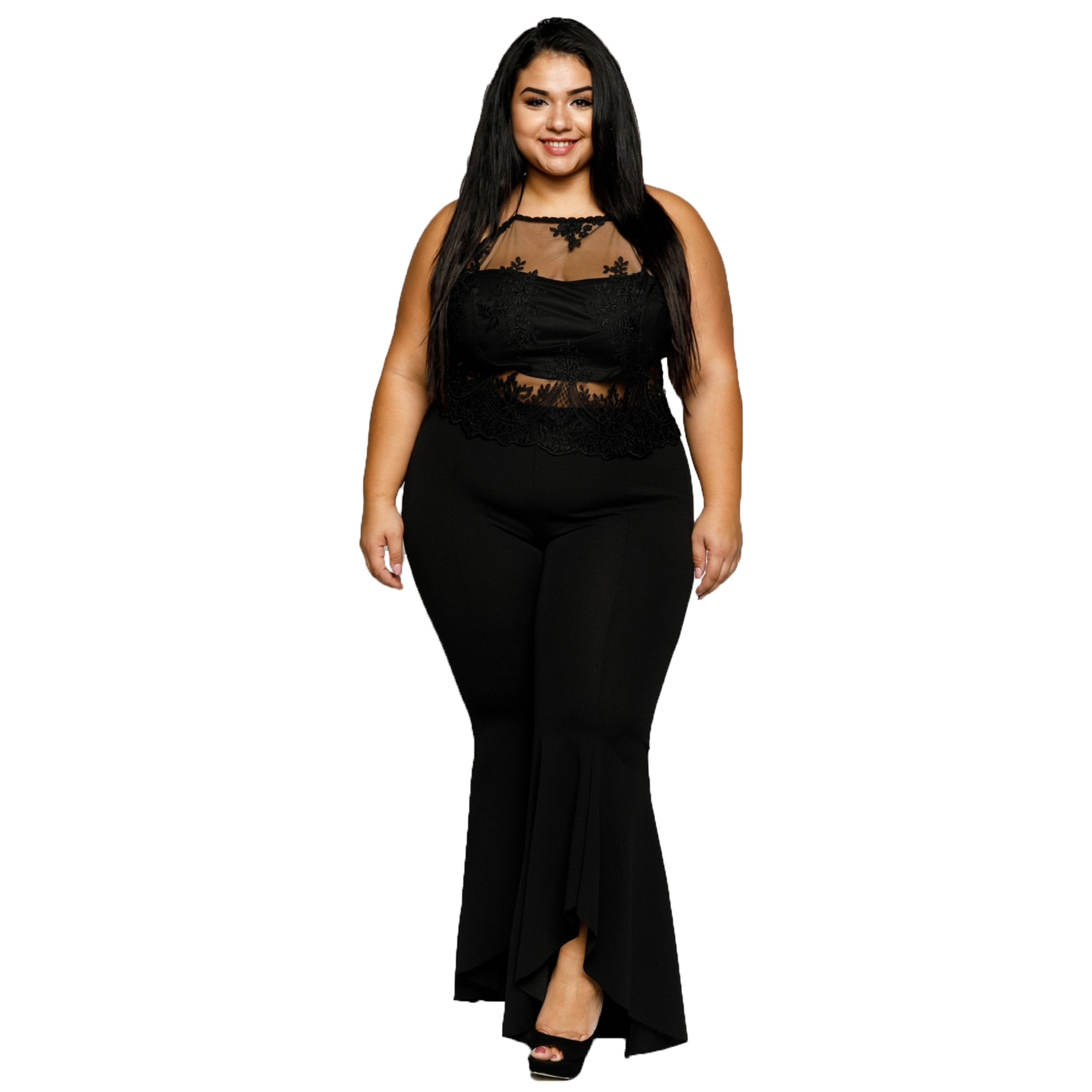 6d8a671ceca Shop Xehar Womens Plus Size Sexy Illusion Mesh Crochet Lace Halter Crop Top  - Free Shipping On Orders Over  45 - Overstock - 18512496