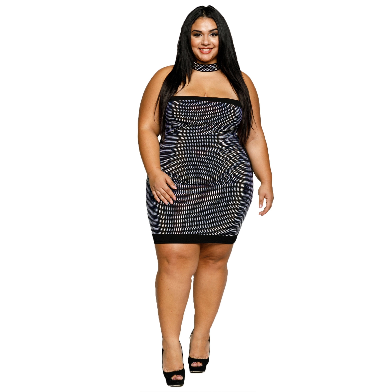 8a7cf32b753f7 Shop Xehar Womens Plus Size Sexy Tube Rhinestone Choker Mini Bodycon Dress  - Free Shipping Today - Overstock - 18512511