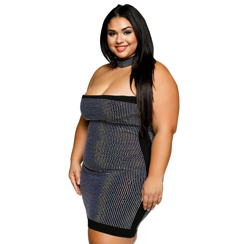ca5b547703e7c Shop Xehar Womens Plus Size Sexy Tube Rhinestone Choker Mini Bodycon ...