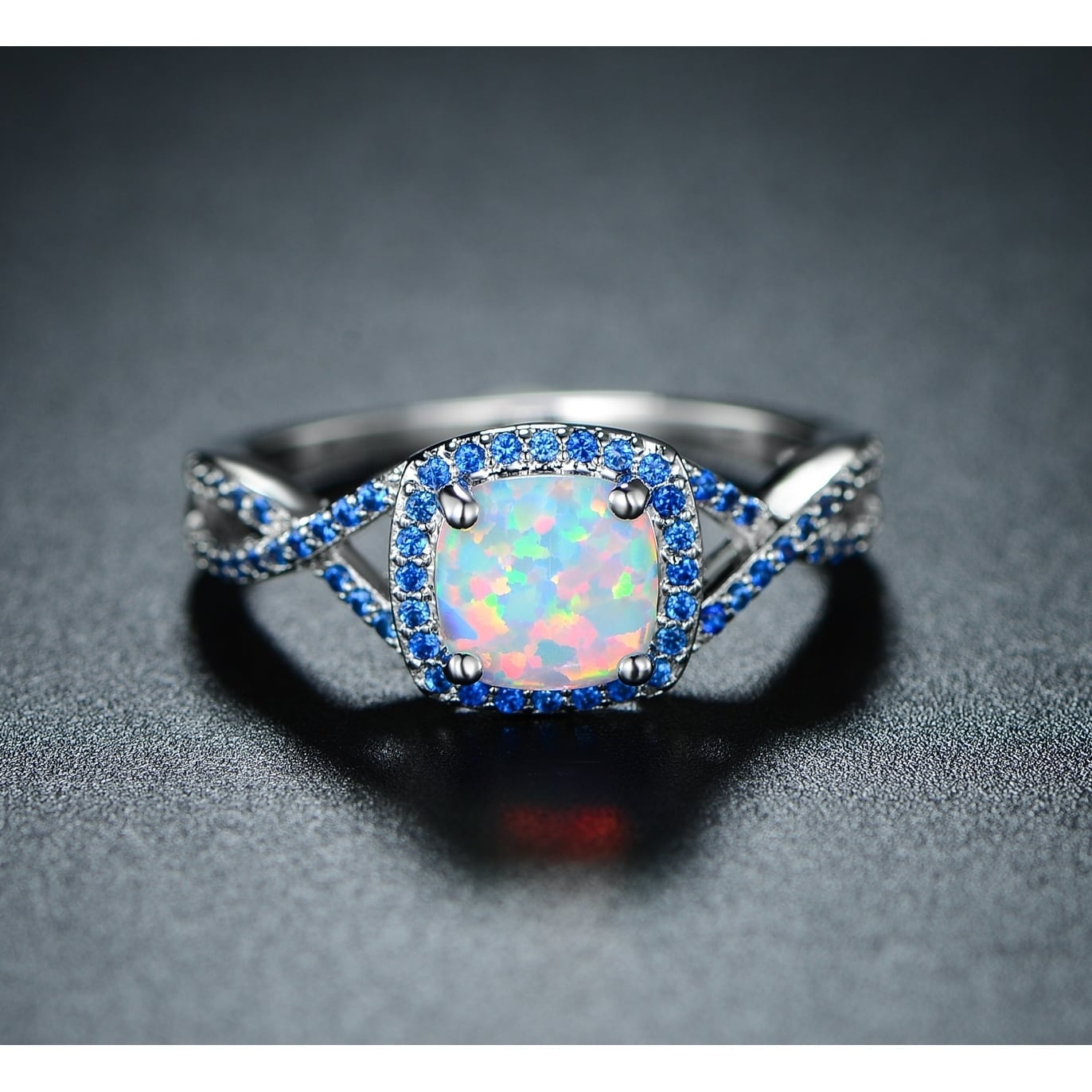 ring i cocktail unique opal tradesy white and sapphire size