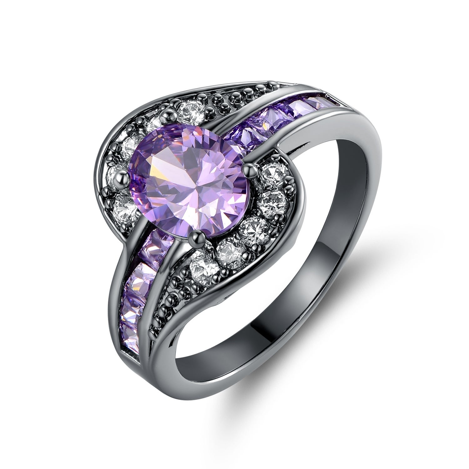 Rhodium Plated Purple & White Cubic Zirconia Statement Ring N A