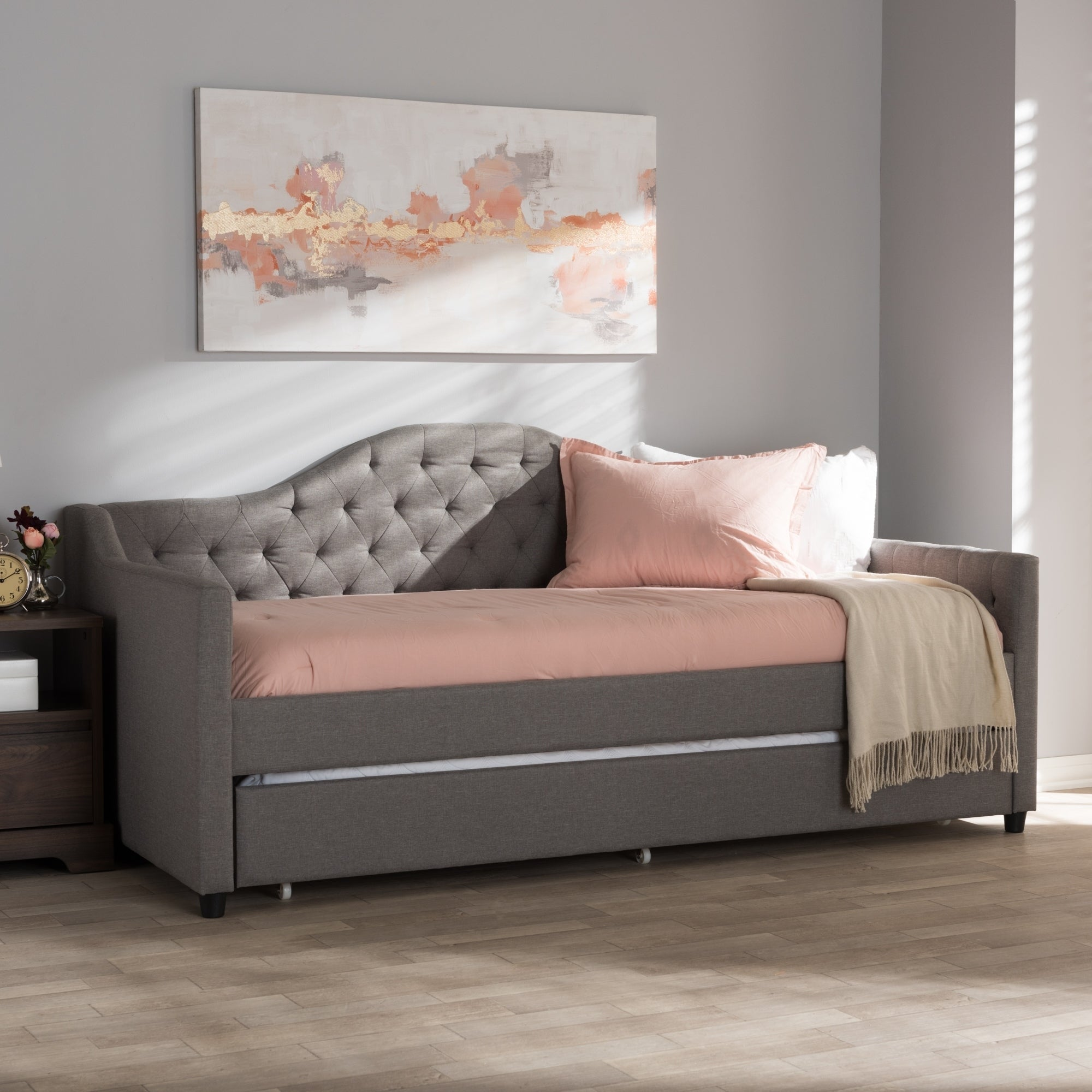 Contemporary Fabric Daybed With Trundle By Baxton Studio Free Shipping Today 18515198