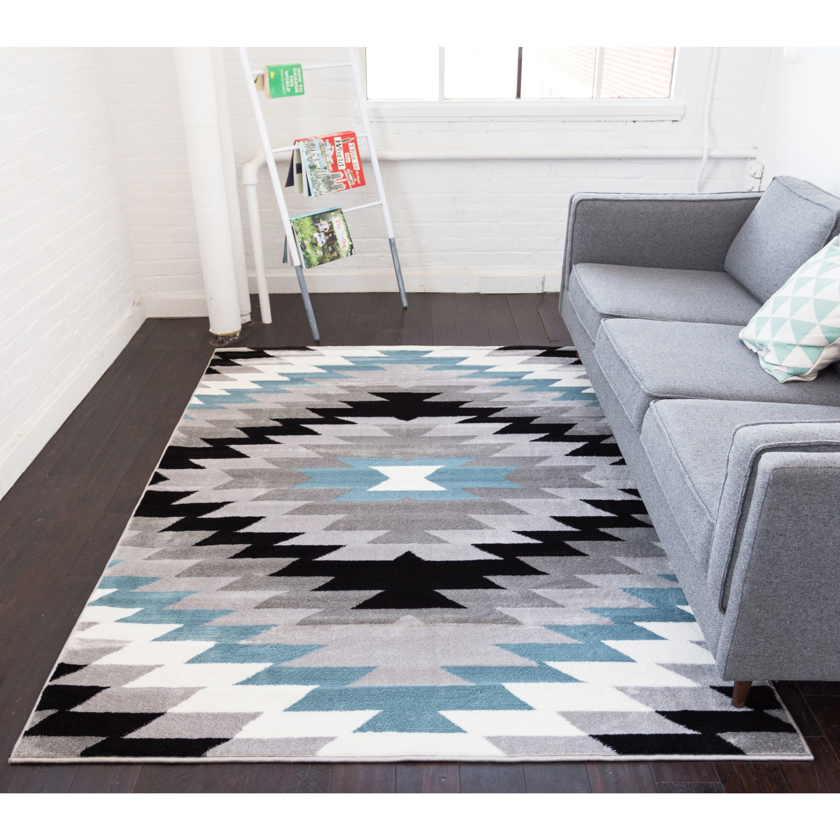 Shop well woven coconino grey modern southwestern tribal area rug 710 x 910 free shipping today overstock com 18515235
