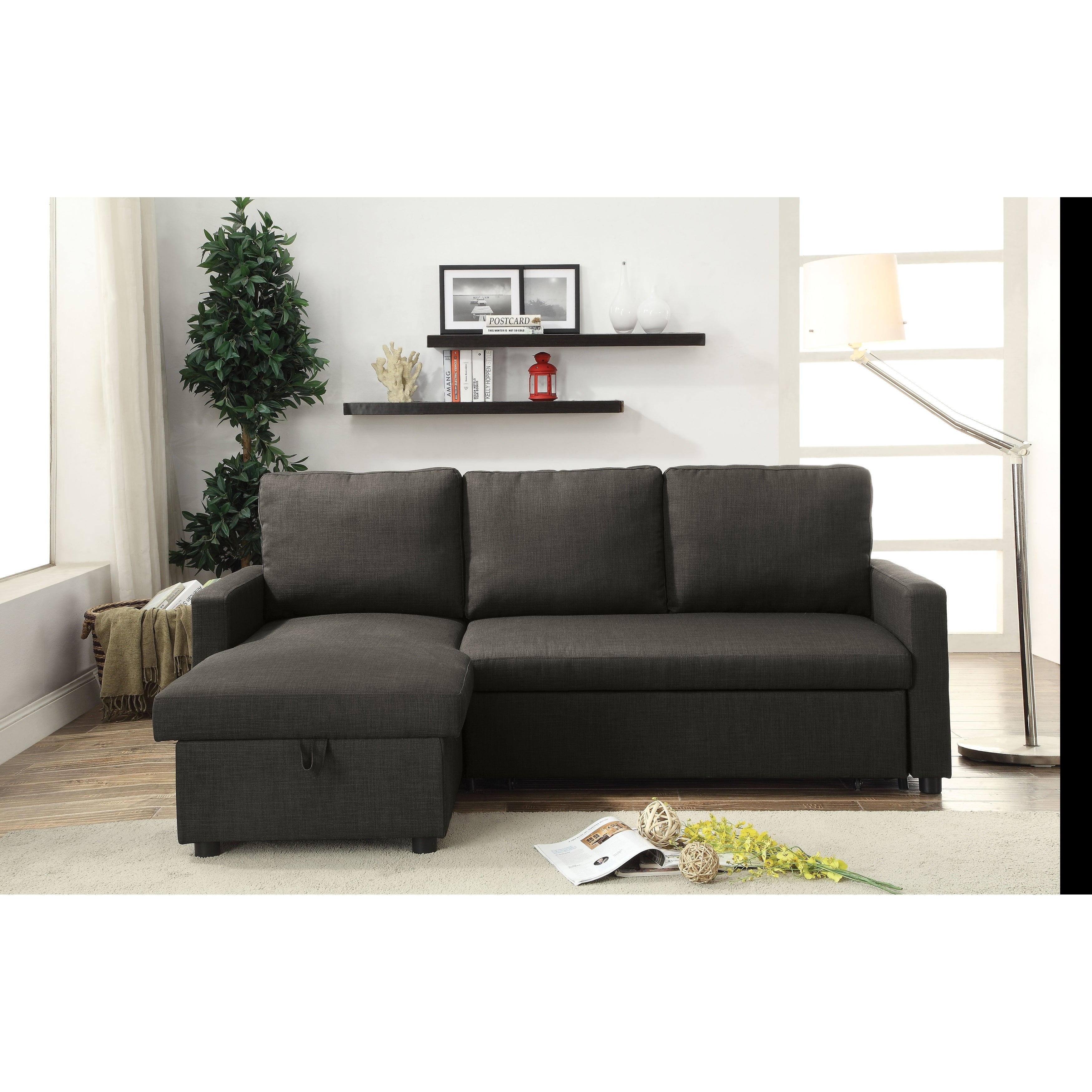 Shop ACME Hiltons Sectional Sofa With Sleeper In Charcoal Linen   Free  Shipping Today   Overstock.com   18517799