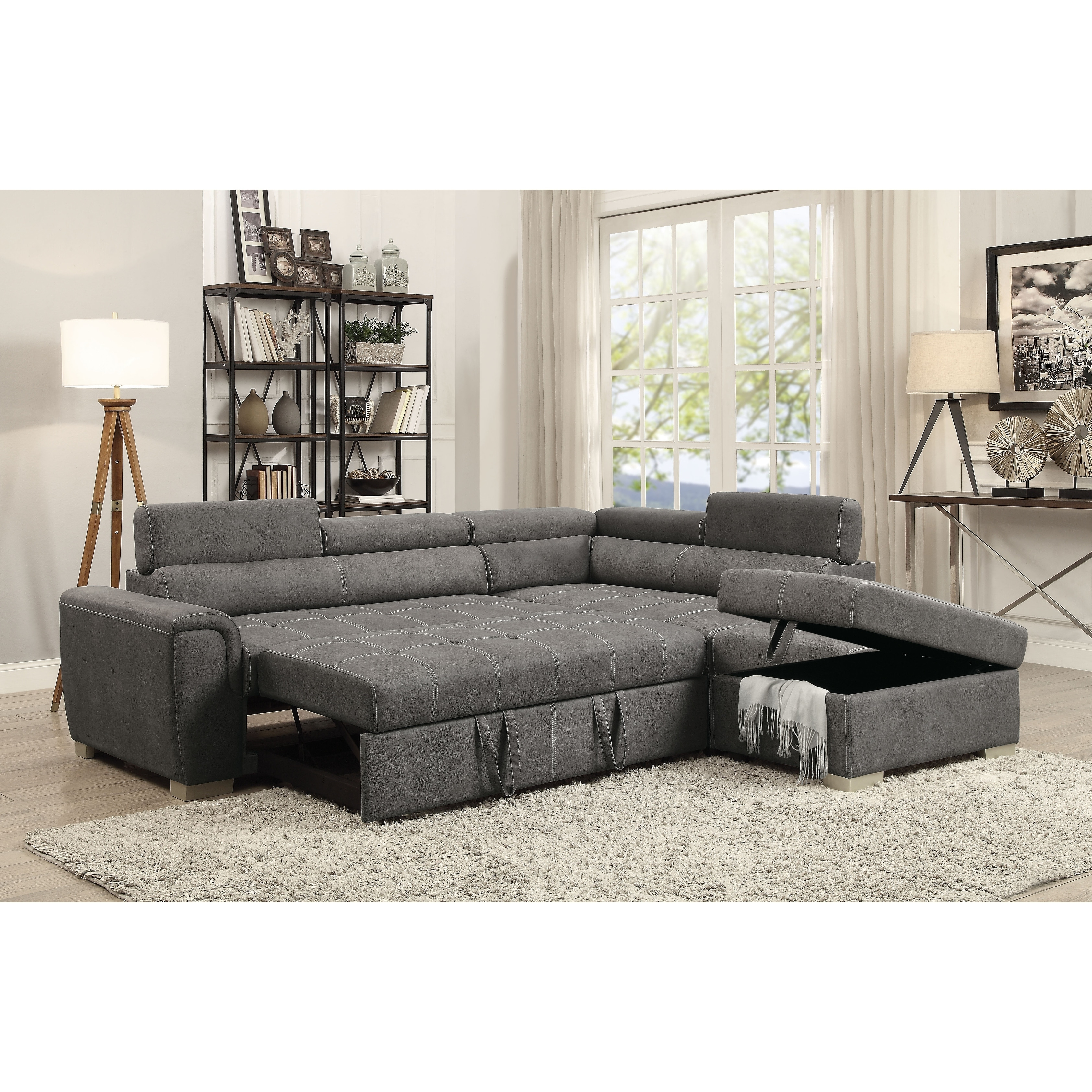 Superieur Shop ACME Thelma Sectional Sofa With Sleeper And Ottoman In Gray Polished  Microfiber   Free Shipping Today   Overstock.com   18517836