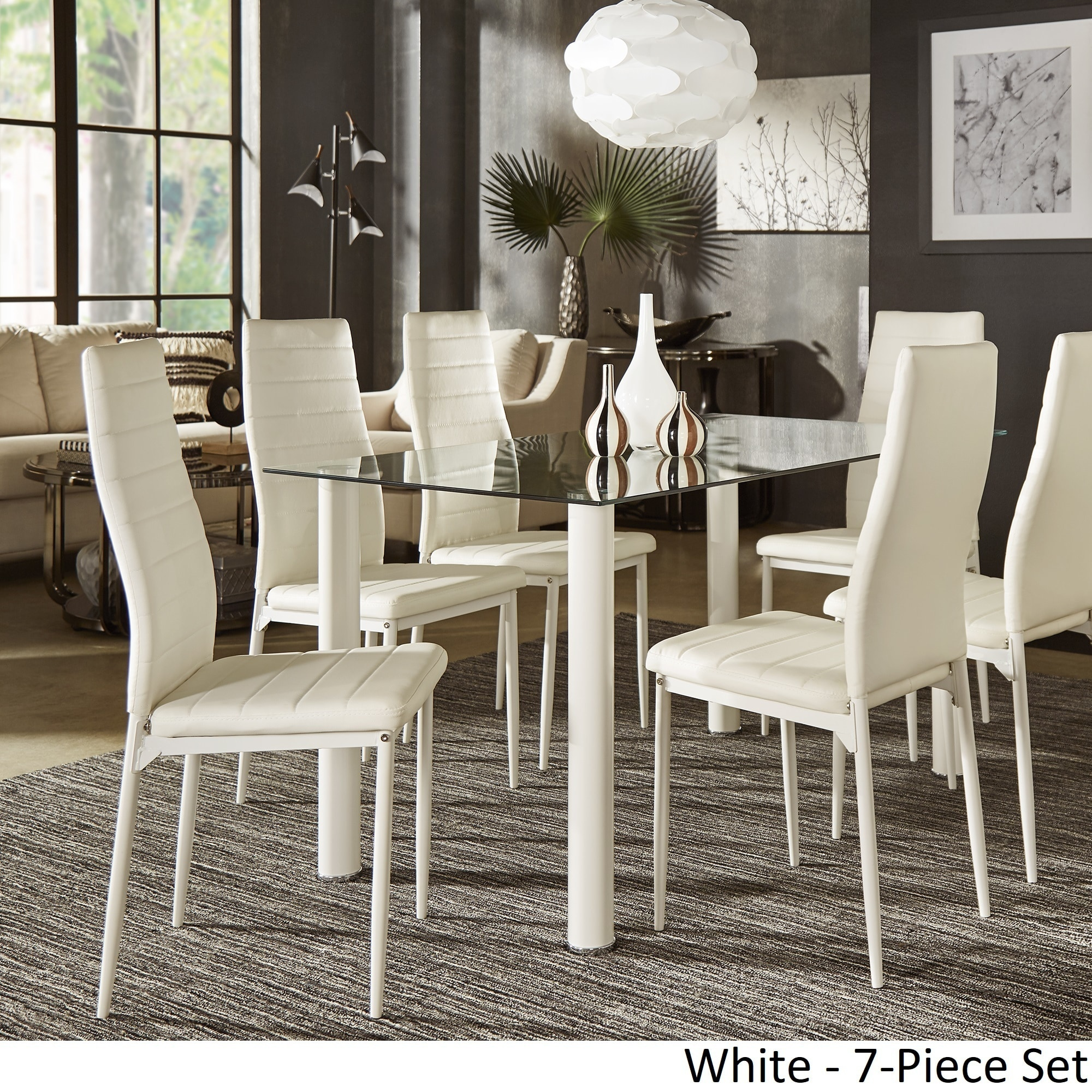 Shop Milo Contemporary Metal And Glass Dining Set   Faux Leather Chairs By  INSPIRE Q Bold   Free Shipping Today   Overstock.com   18519114