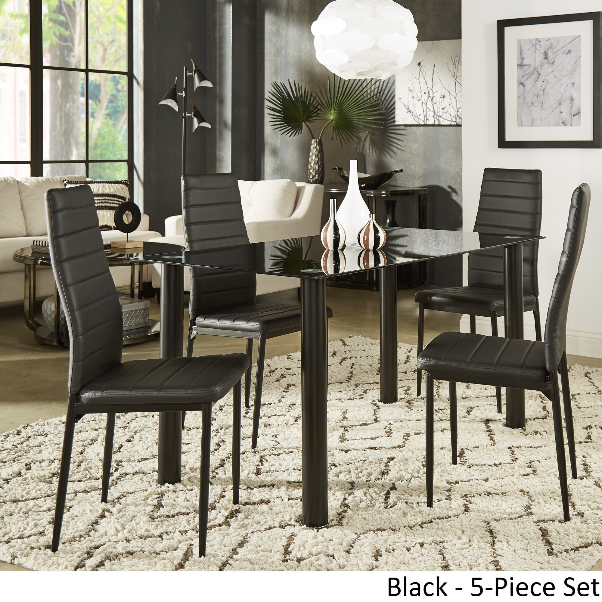 Milo Contemporary Metal And Glass Dining Set   Faux Leather Chairs By  INSPIRE Q Bold   Free Shipping Today   Overstock.com   24628878