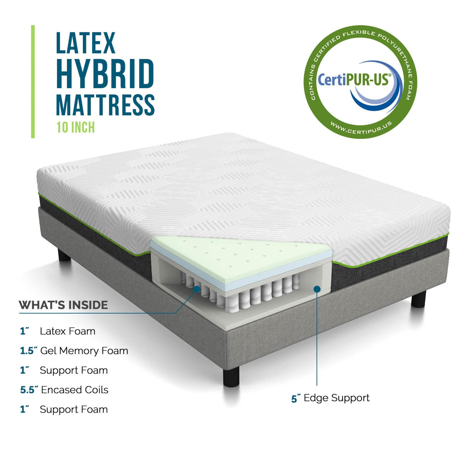 overstock lucid comfort mattress product inch latex free collection full today hybrid shipping garden home size