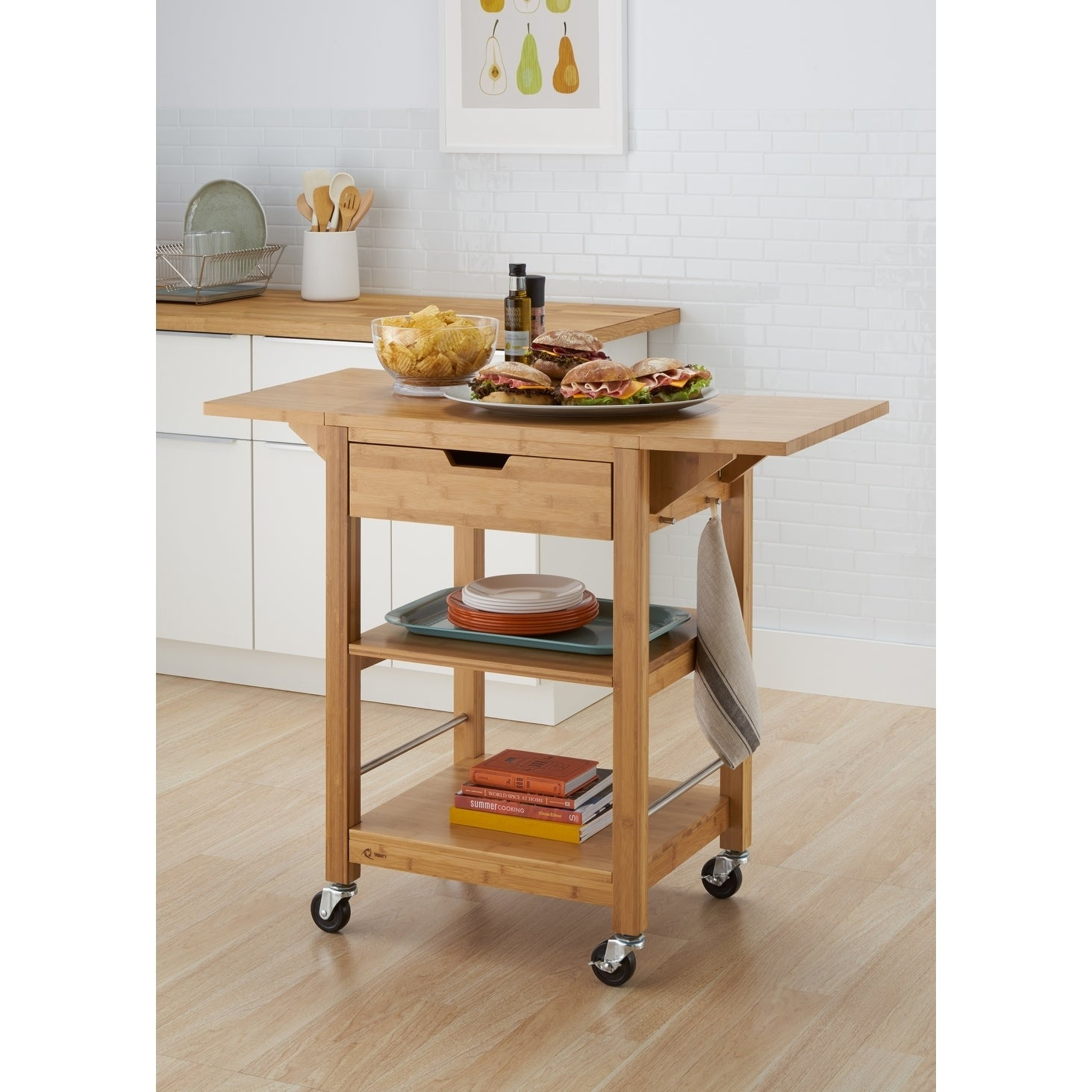 The Curated Nomad Embarcadero 24 Inch Kitchen Cart With Drop Leaf