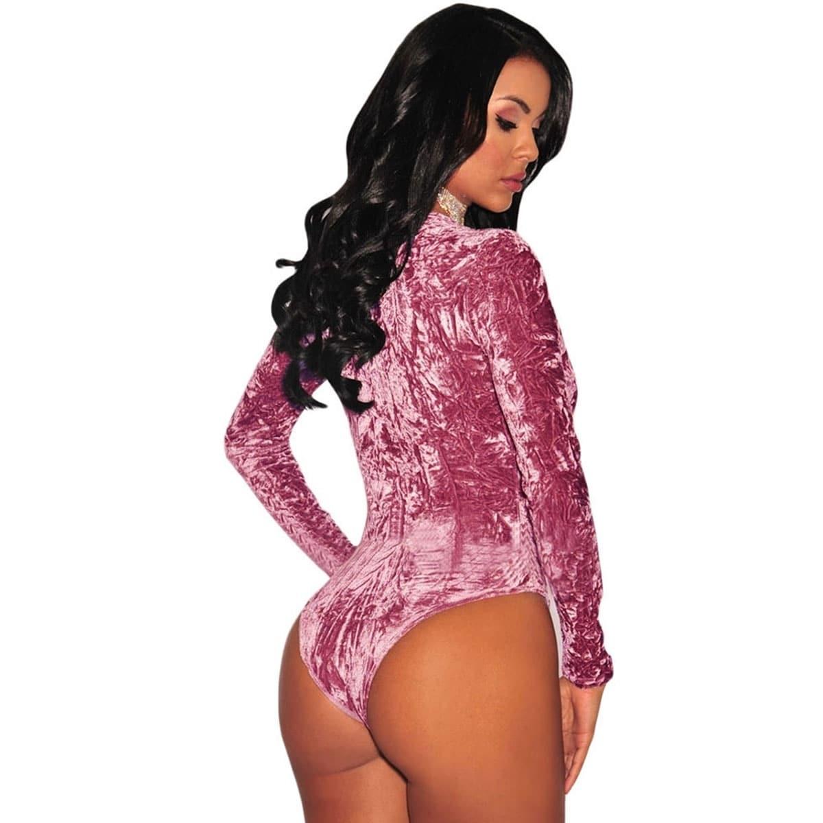 Shop Women Crushed Velvet Long Sleeves Bodysuit Teddy Lingerie - Free  Shipping On Orders Over  45 - Overstock - 18521016 09c1438b0