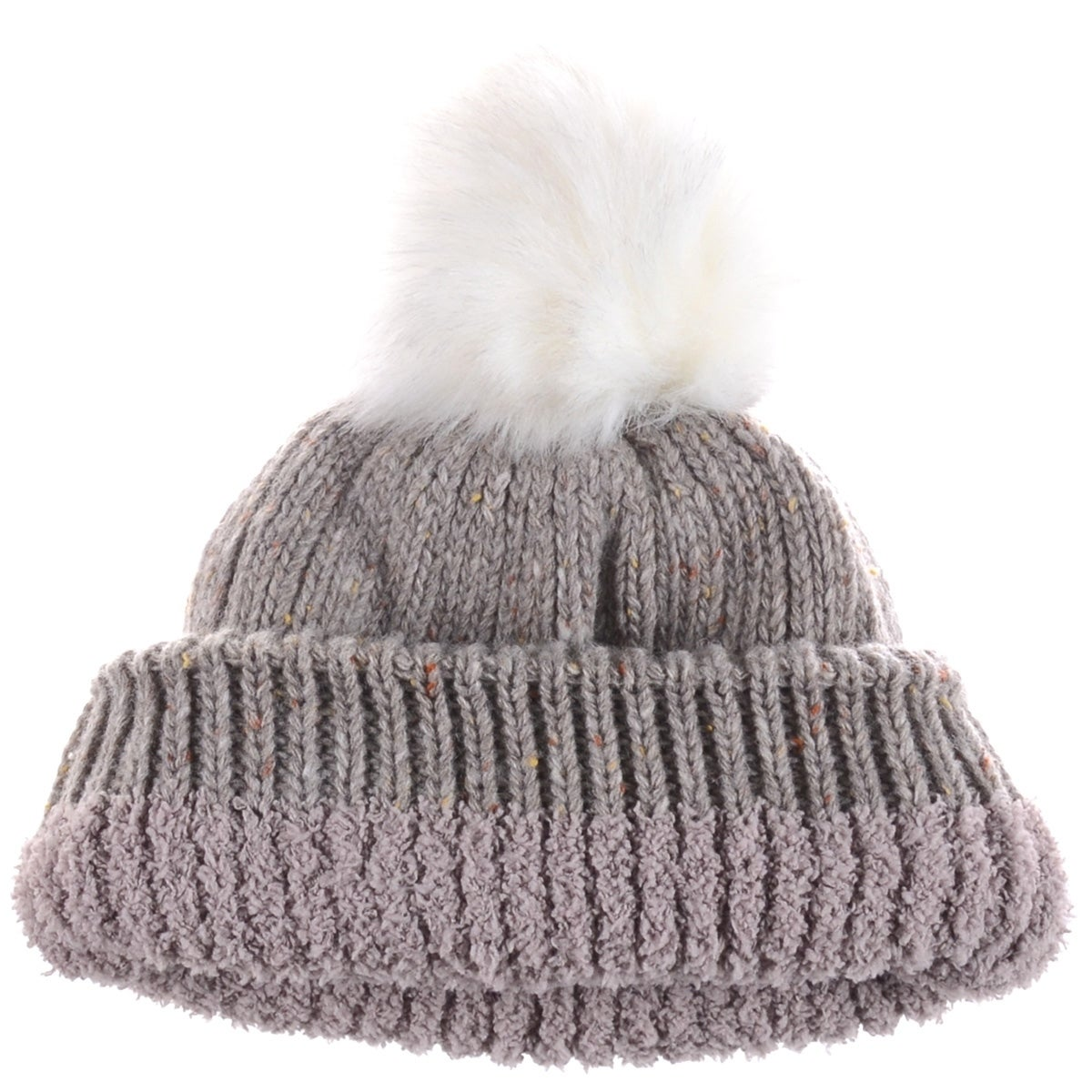 Fleece Lined Chunky Knit Beanie With Faux Fur Pom in Gray Plush Apparel kED3uGTlLL