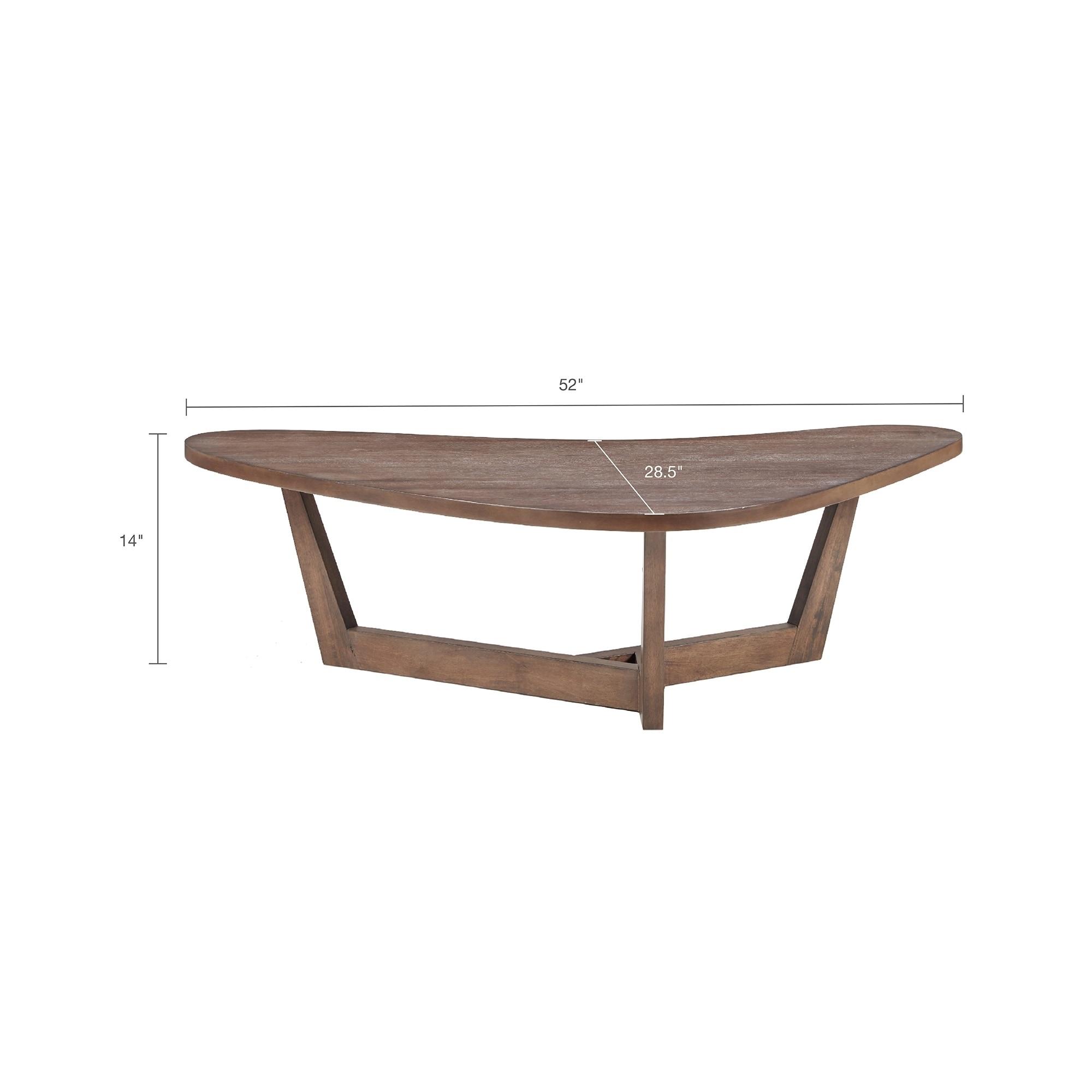 Rubberwood Coffee Table.Ink Ivy Boomerang Brown Acacia Veneer Rubberwood Coffee Table