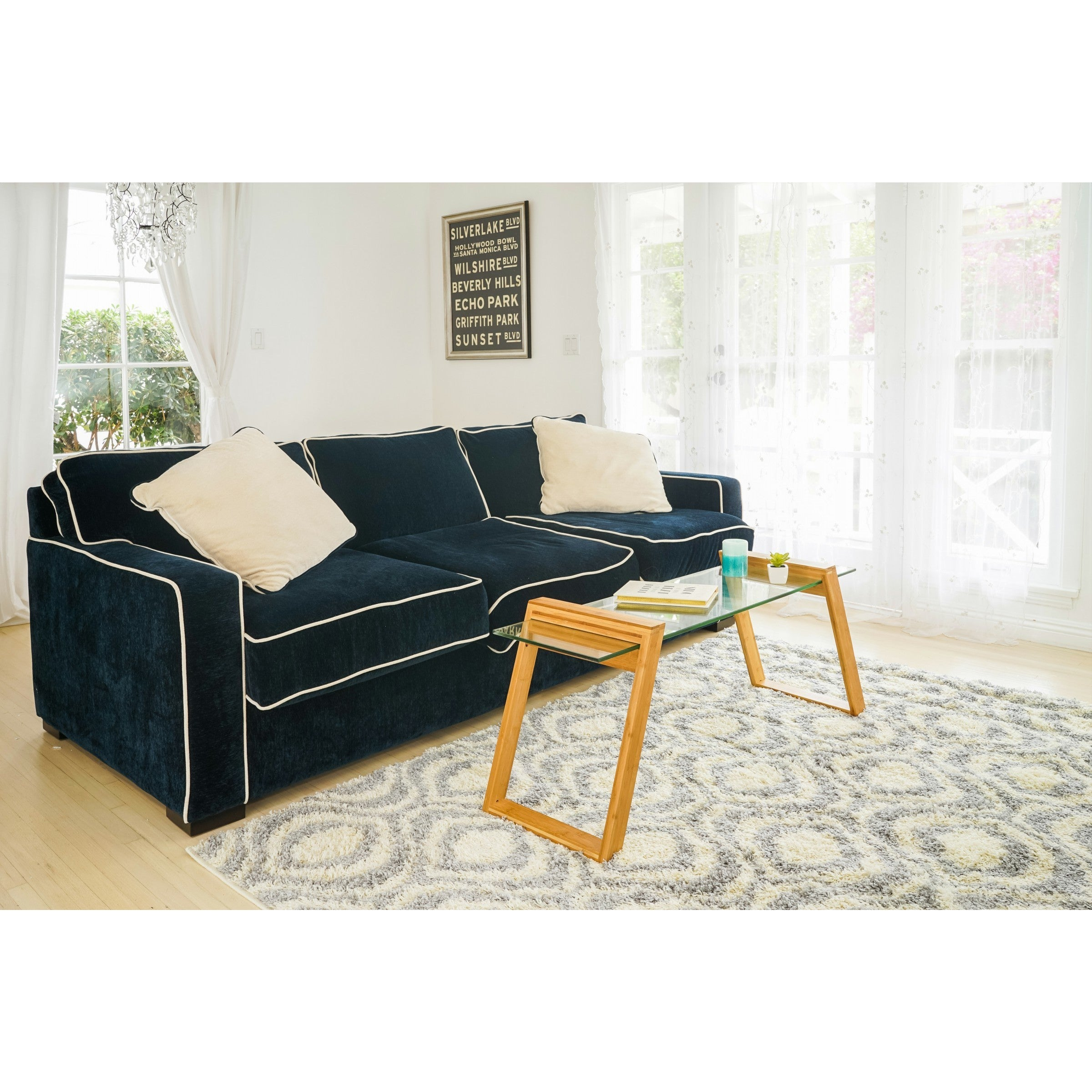 Canary Glass and Bamboo 43-inch Long Coffee Table - Free Shipping ...