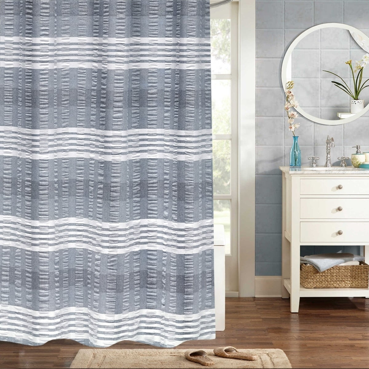 Shop Nadia 100% Cotton Woven Jaqcuard Shower Curtain 70\