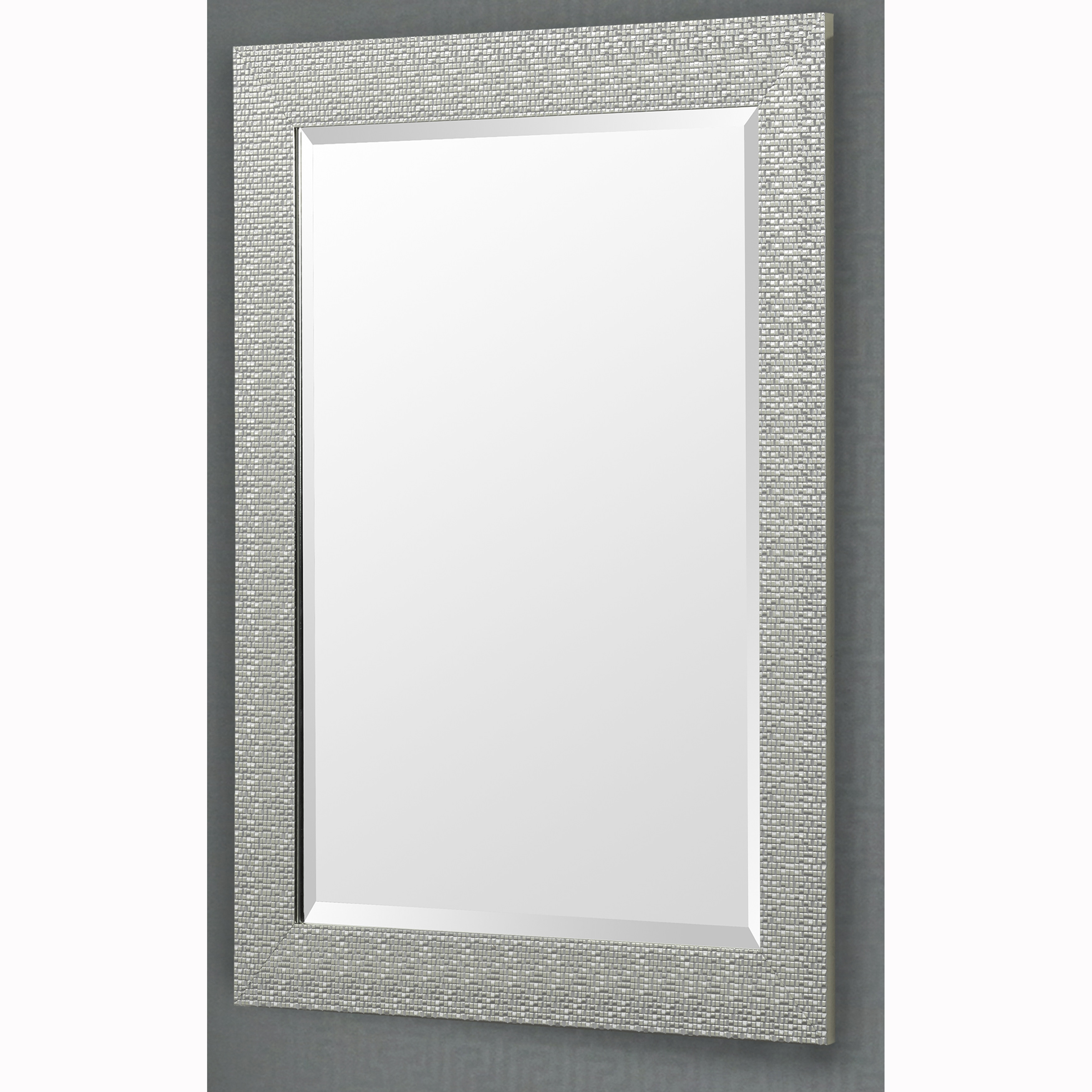 Shop Silver Finish Rectangular Beveled Vanity Wall Mirror With ...