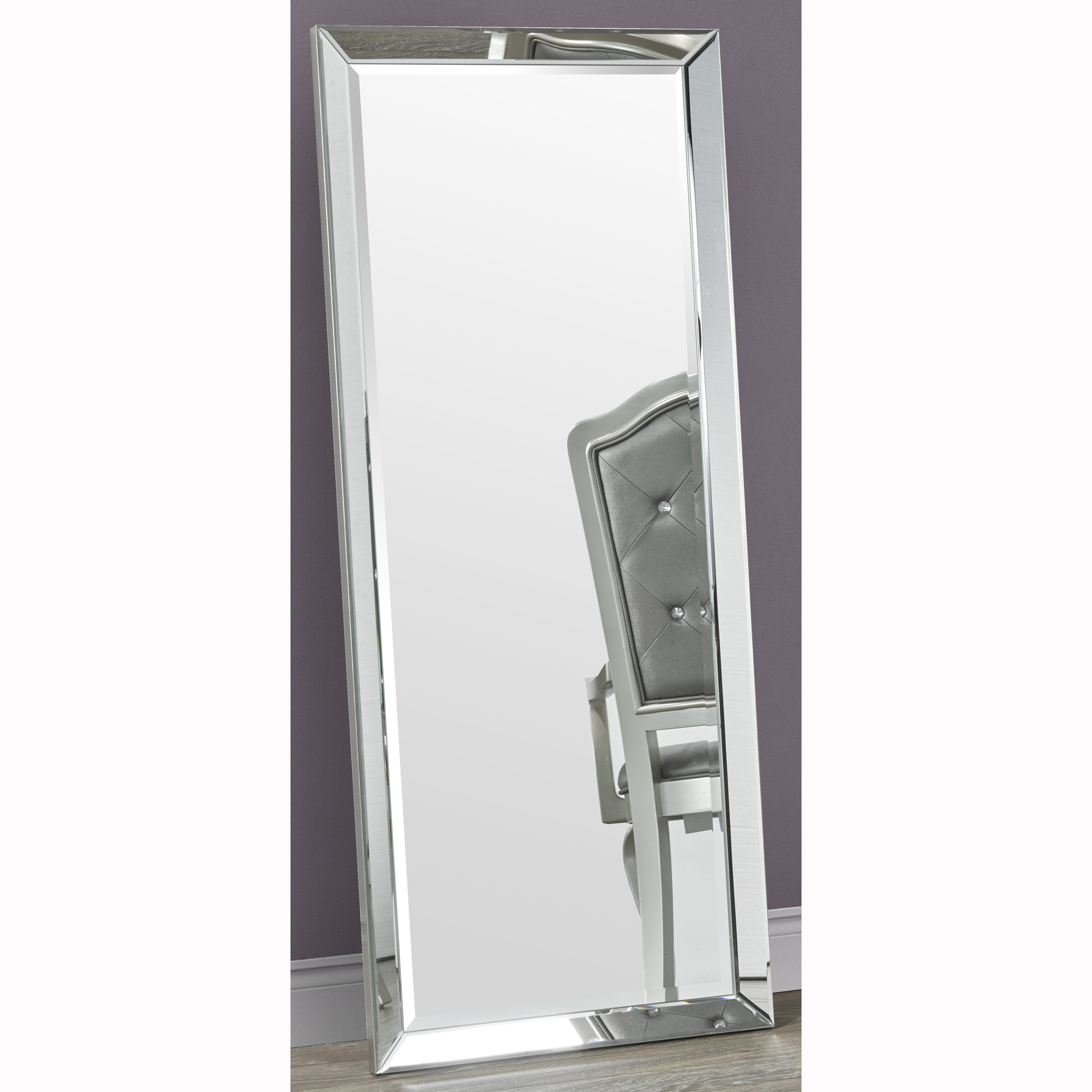 Full Length Leaner Beveled Floor Mirror With Frame