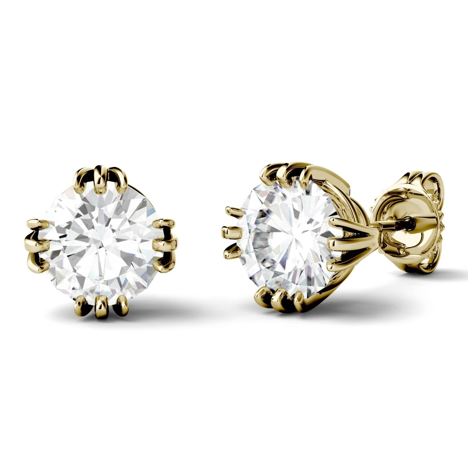 beautiful genuine earring earrings carat gold round yellow white stud t w diamond one of