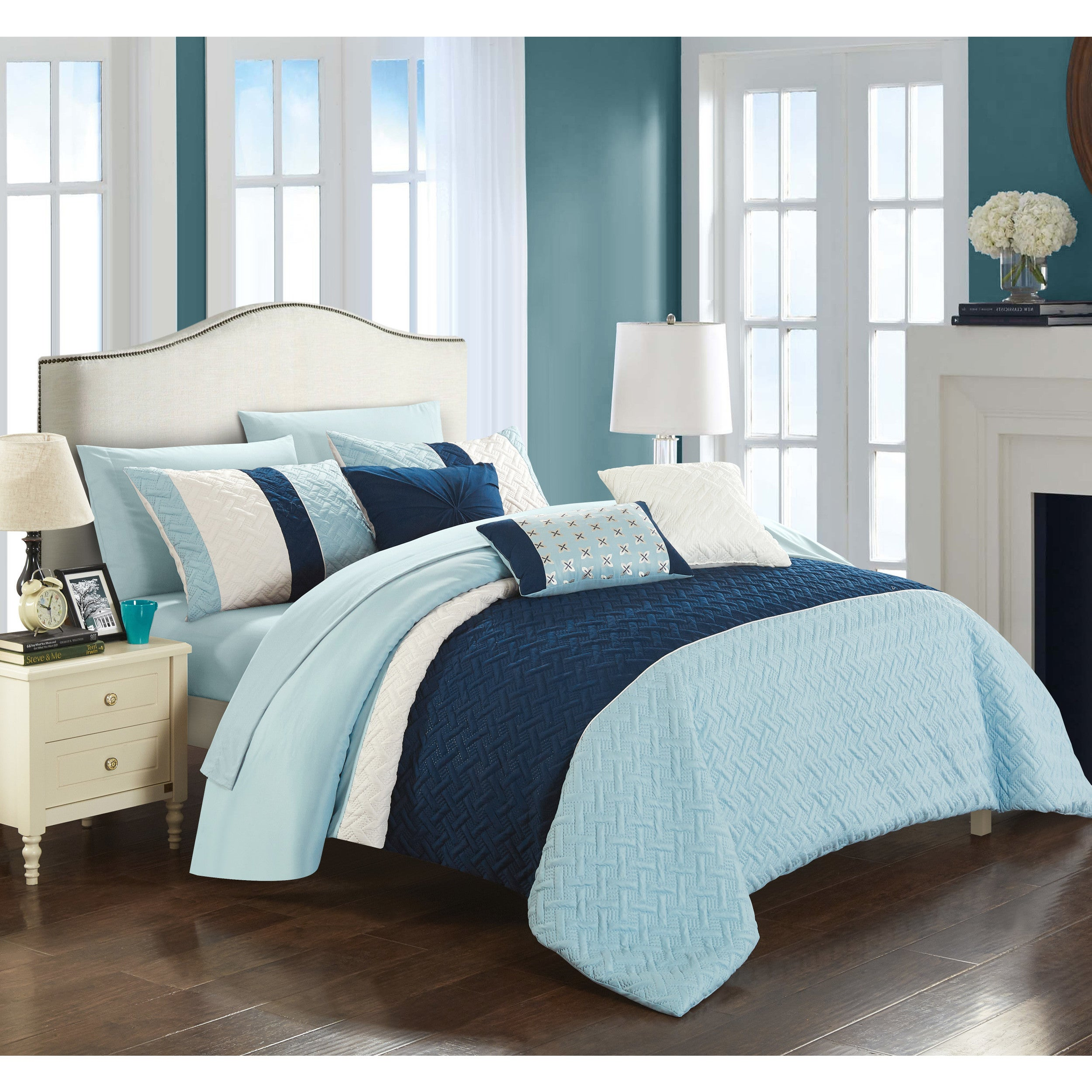 Chic Home Arza 10 Piece Color Block Quilted Comforter Set On Free Shipping Today 18528608