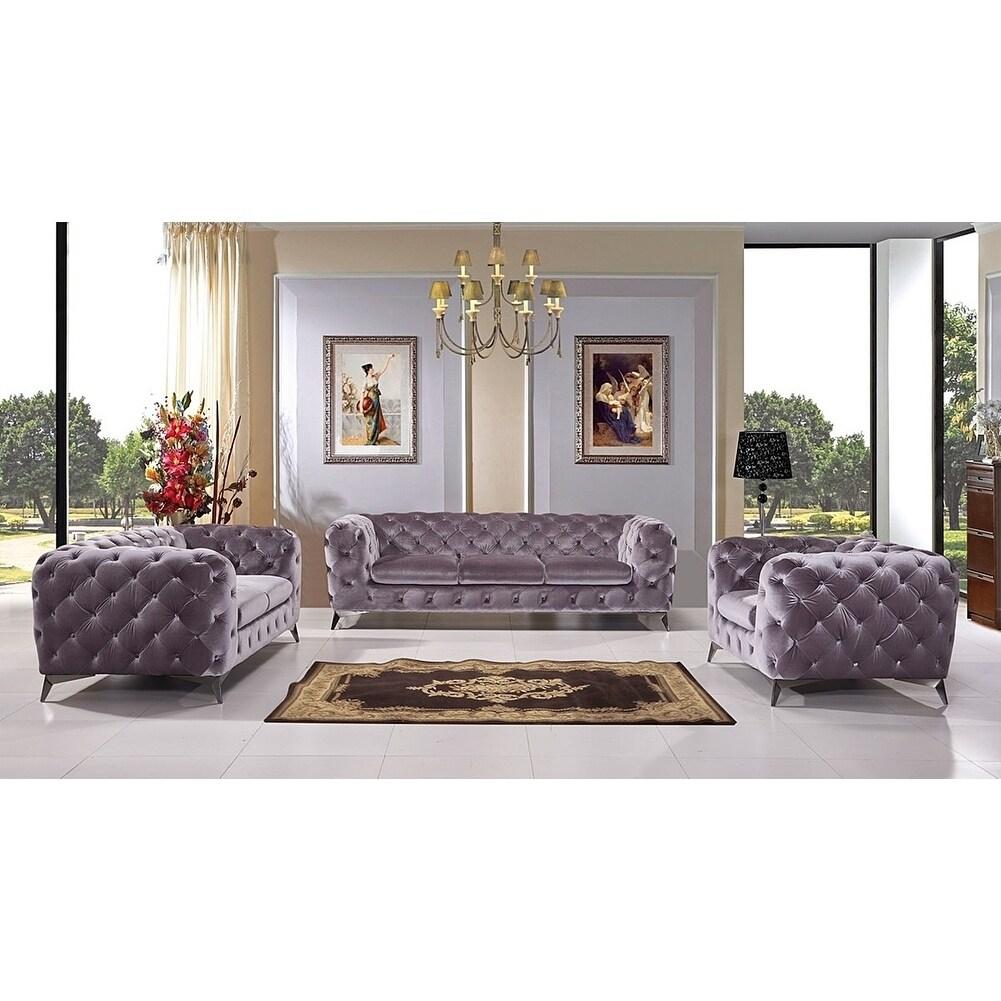 Portaleno Modern Grey Fabric Tufted Living Room Set - Free Shipping ...