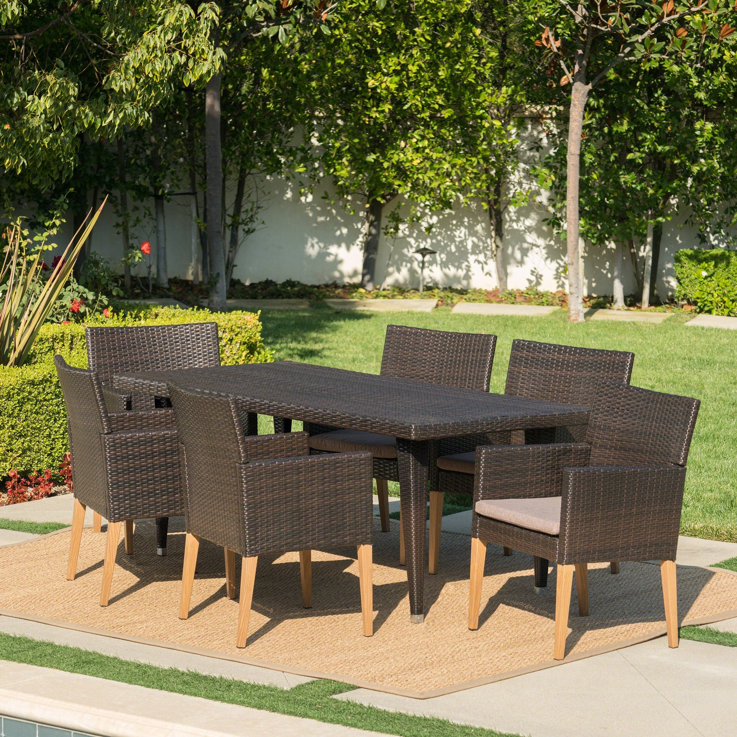 Carlton outdoor 7 piece rectangle wicker wood dining set with cushions by christopher knight home