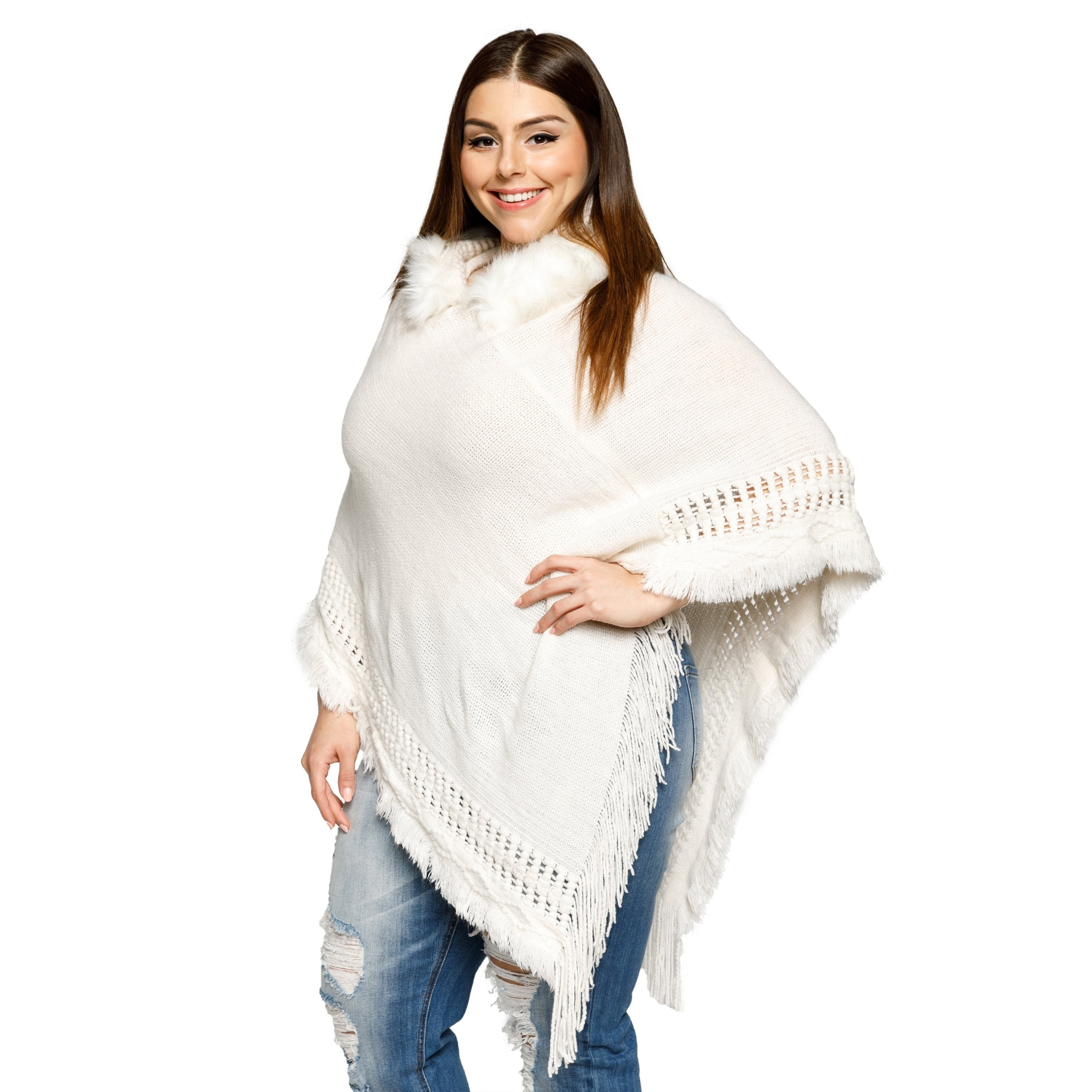 ad5fa421744a2 Shop Xehar Womens Plus Size Fringe Faux Fur Trim Hoodie Poncho Sweater -  Free Shipping On Orders Over  45 - Overstock - 18529822
