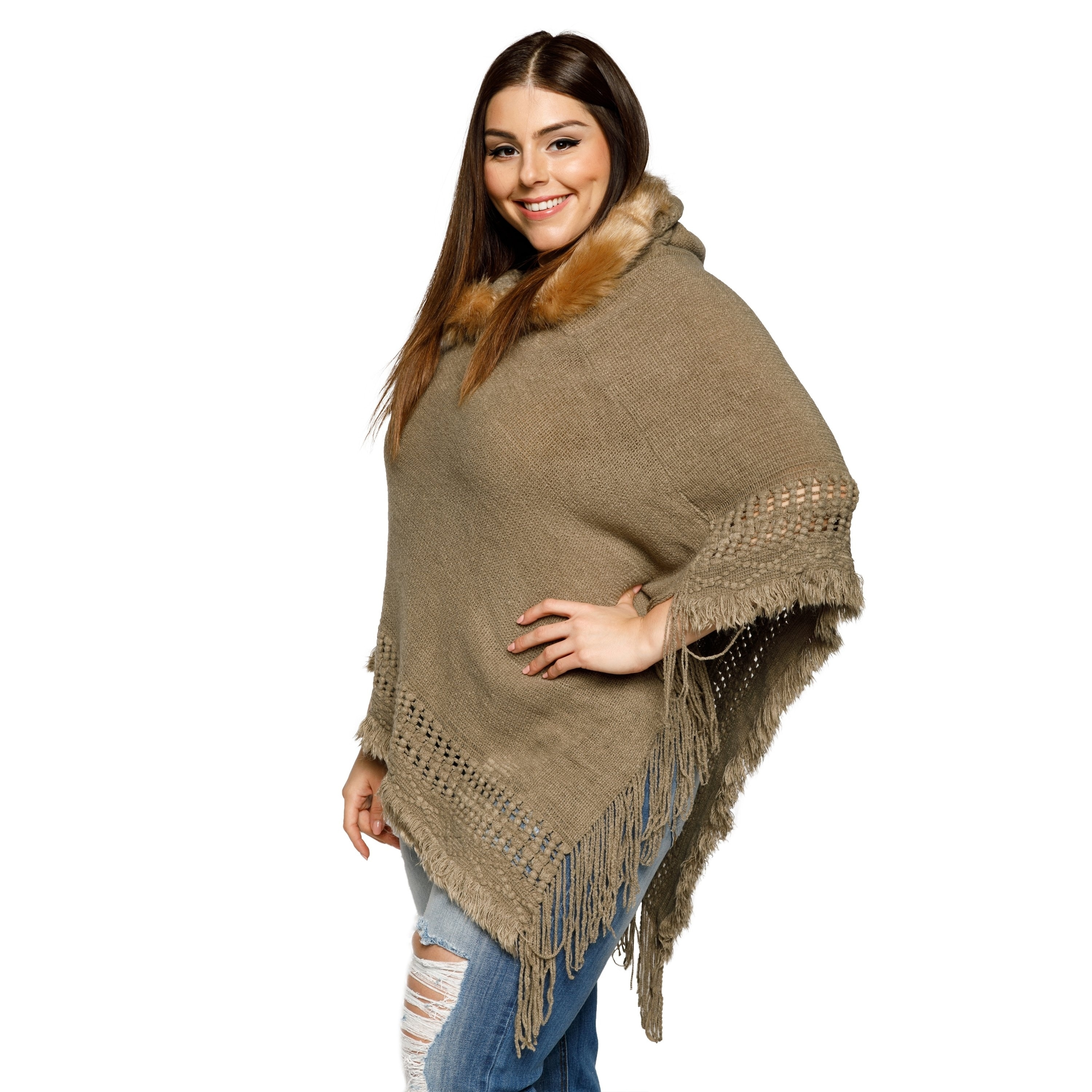 b2004dd90954c Shop Xehar Womens Plus Size Fringe Faux Fur Trim Hoodie Poncho Sweater -  Free Shipping On Orders Over  45 - Overstock.com - 18529827